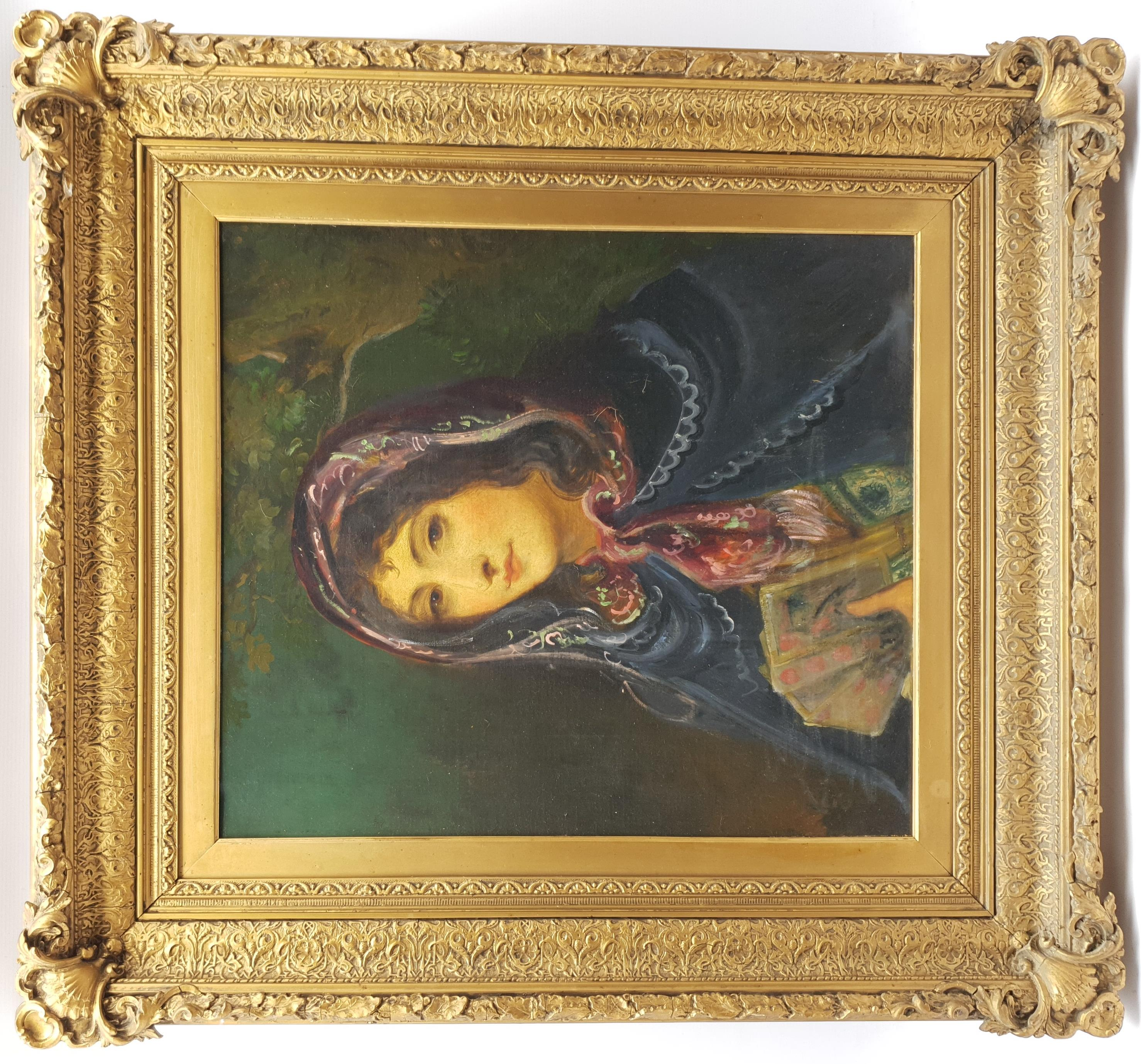 Spanish School (19th century): Lady in a Cloak Holding Playing Cards, oil on canvas unsigned, inscri - Image 2 of 5