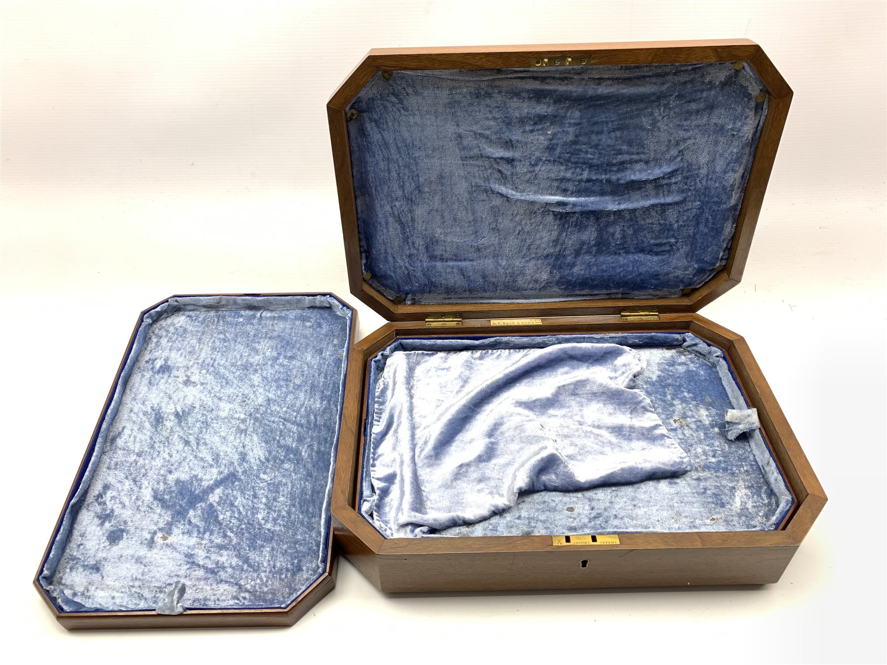 Late Victorian fitted walnut cutlery box with canted corners and burr top inset with central brass s - Image 2 of 5