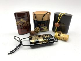 Two Japanese lacquer inro with metal mounts and ojime beads, together with two 20th century Japanese