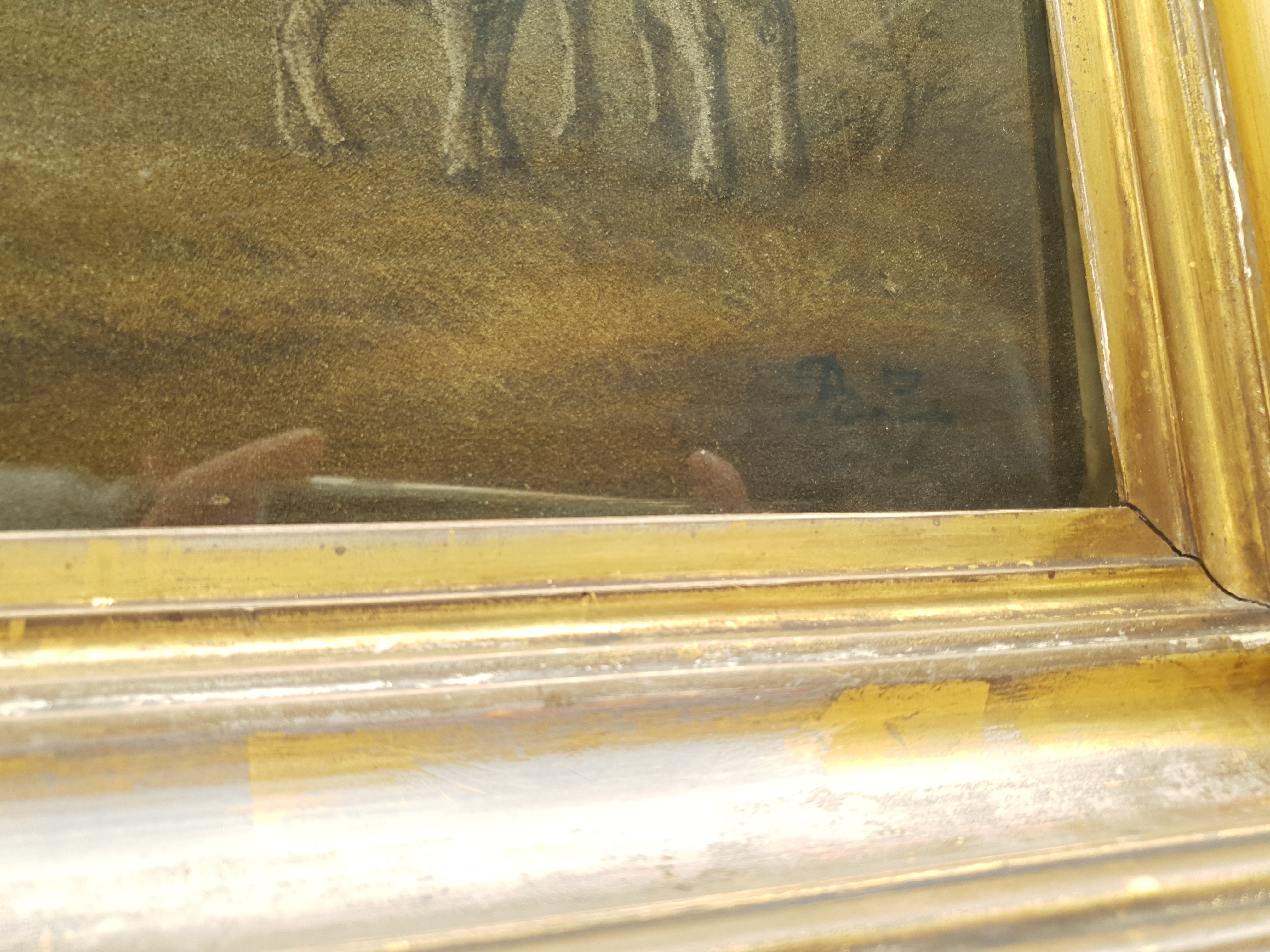 Benjamin Zobel (German/British 1762-1830): Animals in the Farmyard, 'Marmotinto' sand picture signed - Image 3 of 3