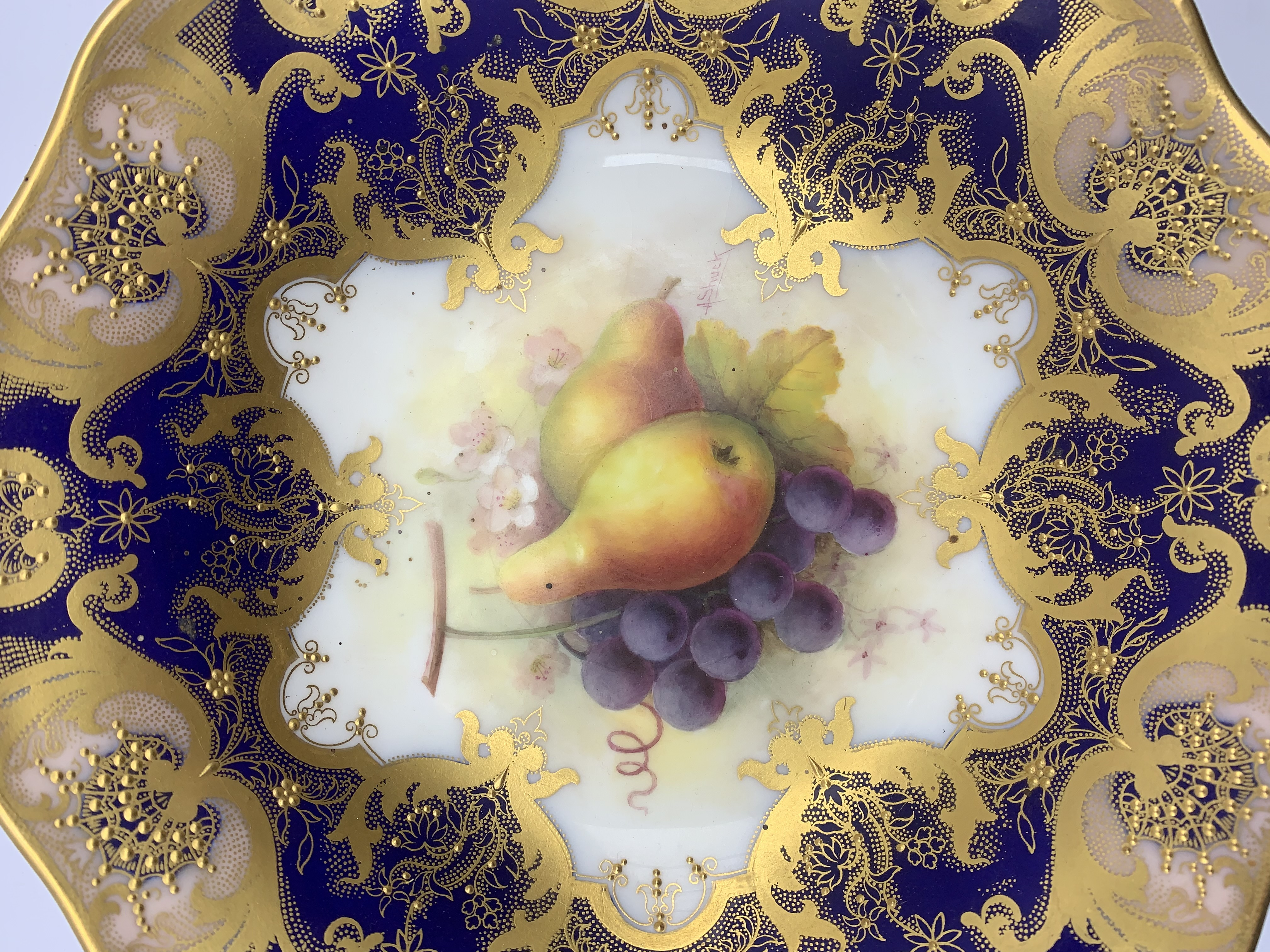 Royal Worcester porcelain twin-handled comport painted by Albert Shuck, signed, with grapes and pear - Image 5 of 7