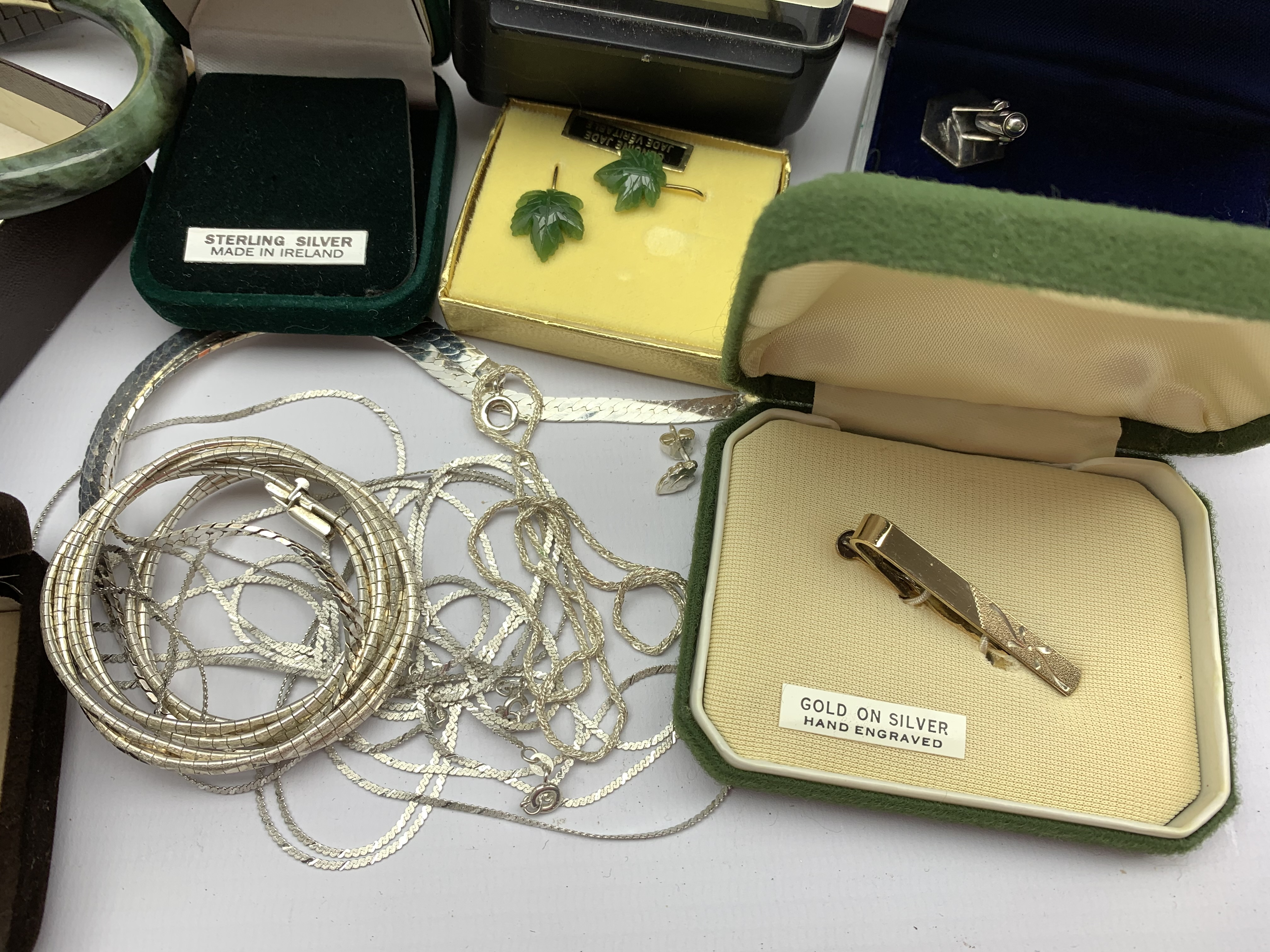 Silver necklaces and a pair of cuff links all stamped or hallmarked, 9ct gold ladies wristwatch on g - Image 6 of 9
