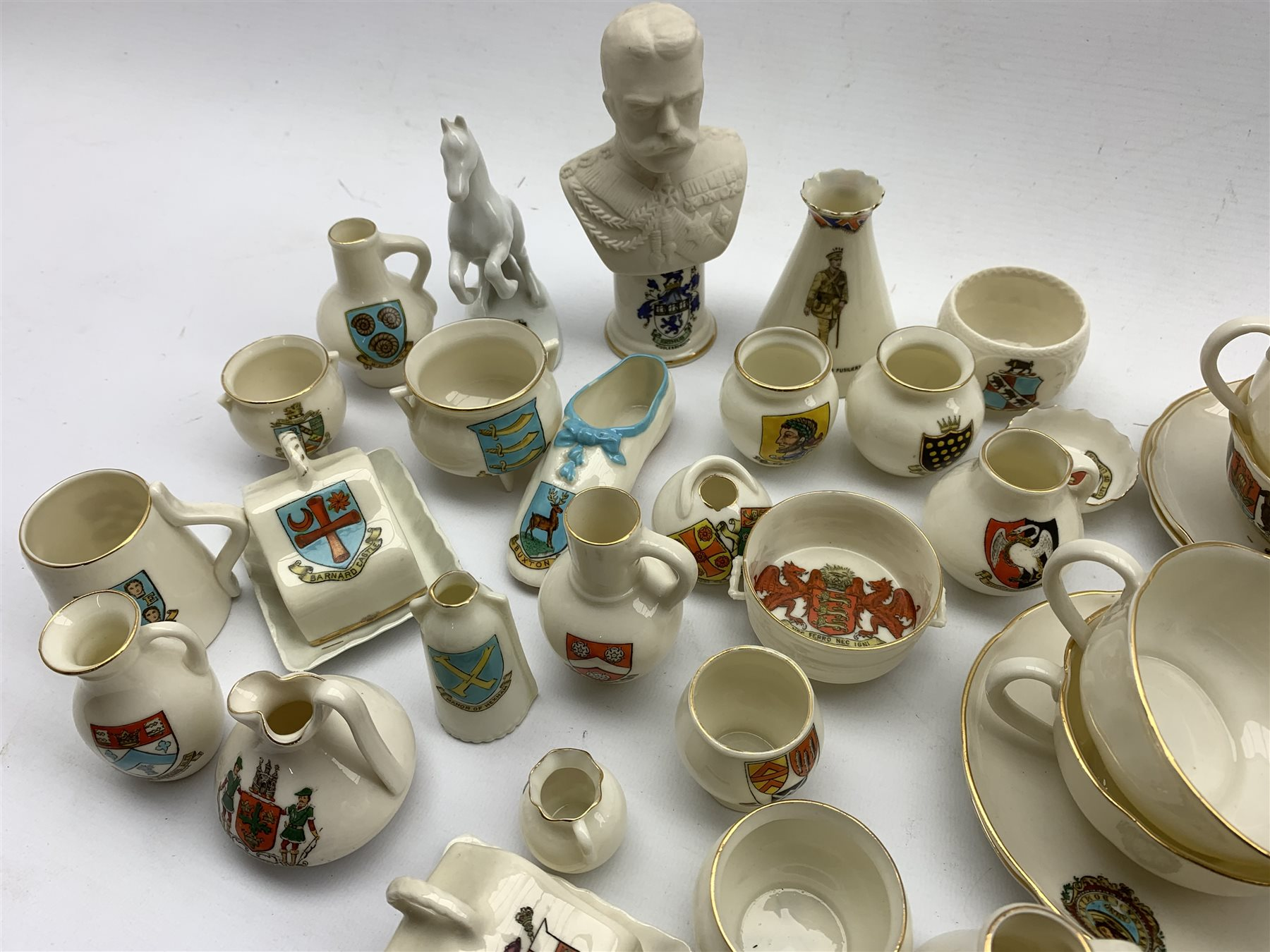 Collection of W.H. Goss and other crested ware including: Model of Queen Victoria's baby shoe, the e - Image 2 of 5