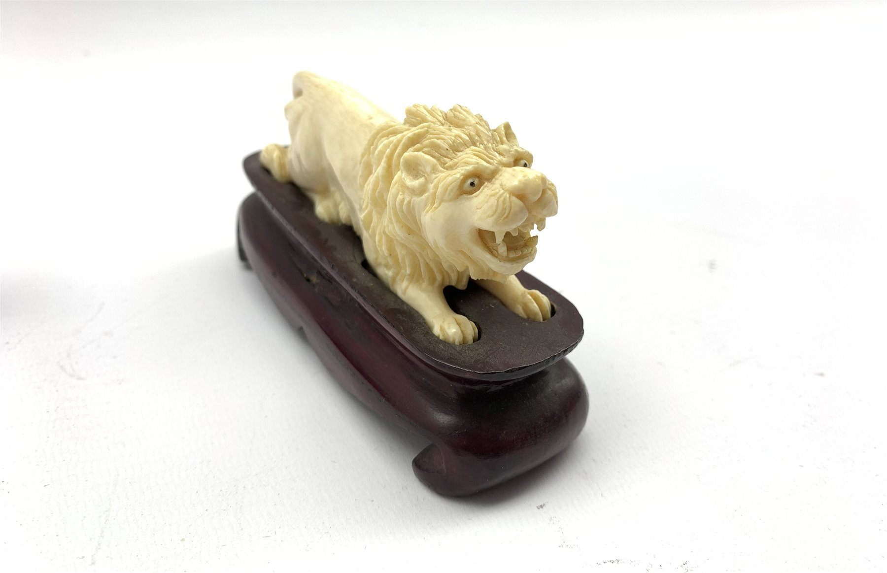 Oriental amethyst glass rabbit on a wooden stand W9cm and an early 20th century carved ivory figure - Image 4 of 11