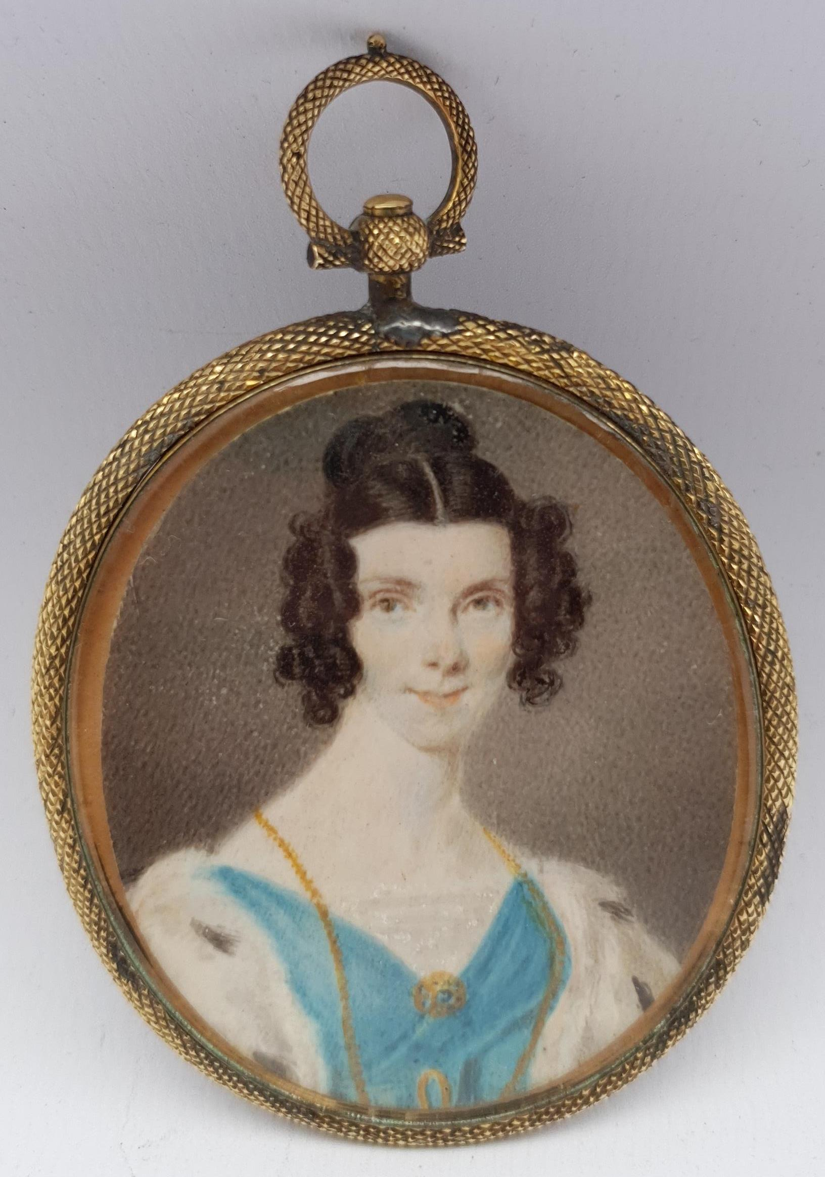 English School (19th century): Lady with an Ermine Stole, portrait miniature unsigned, locks of hair