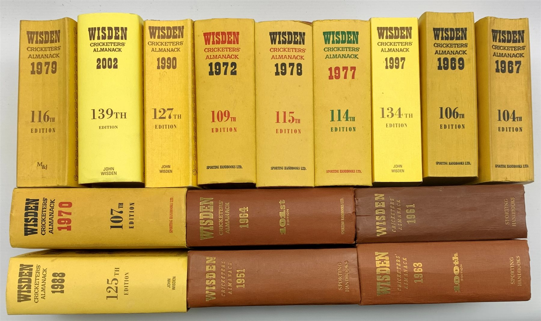 Wisden Cricketers Almanack fifteen volumes 1951 - 2002 in hard and soft covers