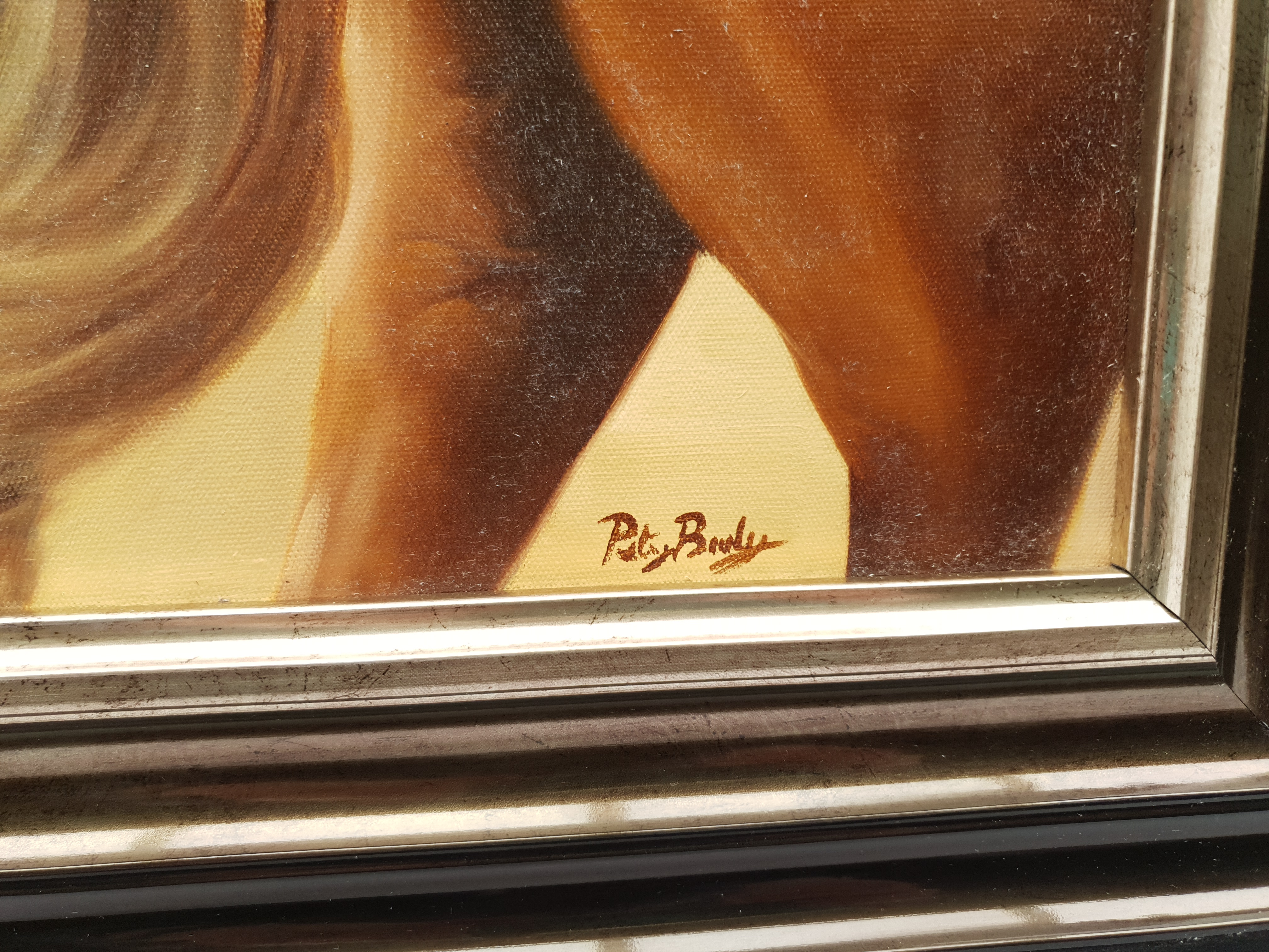 Peter J Bailey (British 1951-): 'Spirit of Esteem', oil on canvas signed, titled signed and inscribe - Image 3 of 5