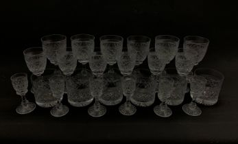 Suite of Tudor Holbein pattern table glass comprising six tumblers, six claret glasses, six smaller