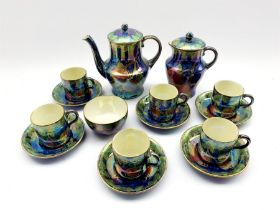 Art Deco Maling lustre coffee set decorated in the Plum and Orchid pattern, no. 3449 comprising coff