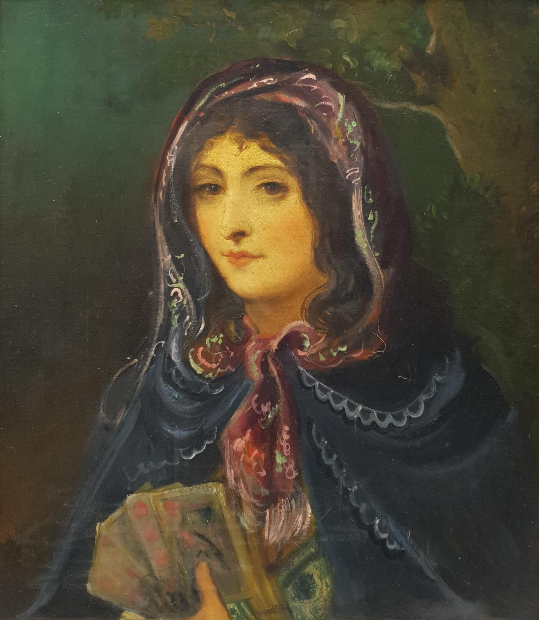 Spanish School (19th century): Lady in a Cloak Holding Playing Cards, oil on canvas unsigned, inscri