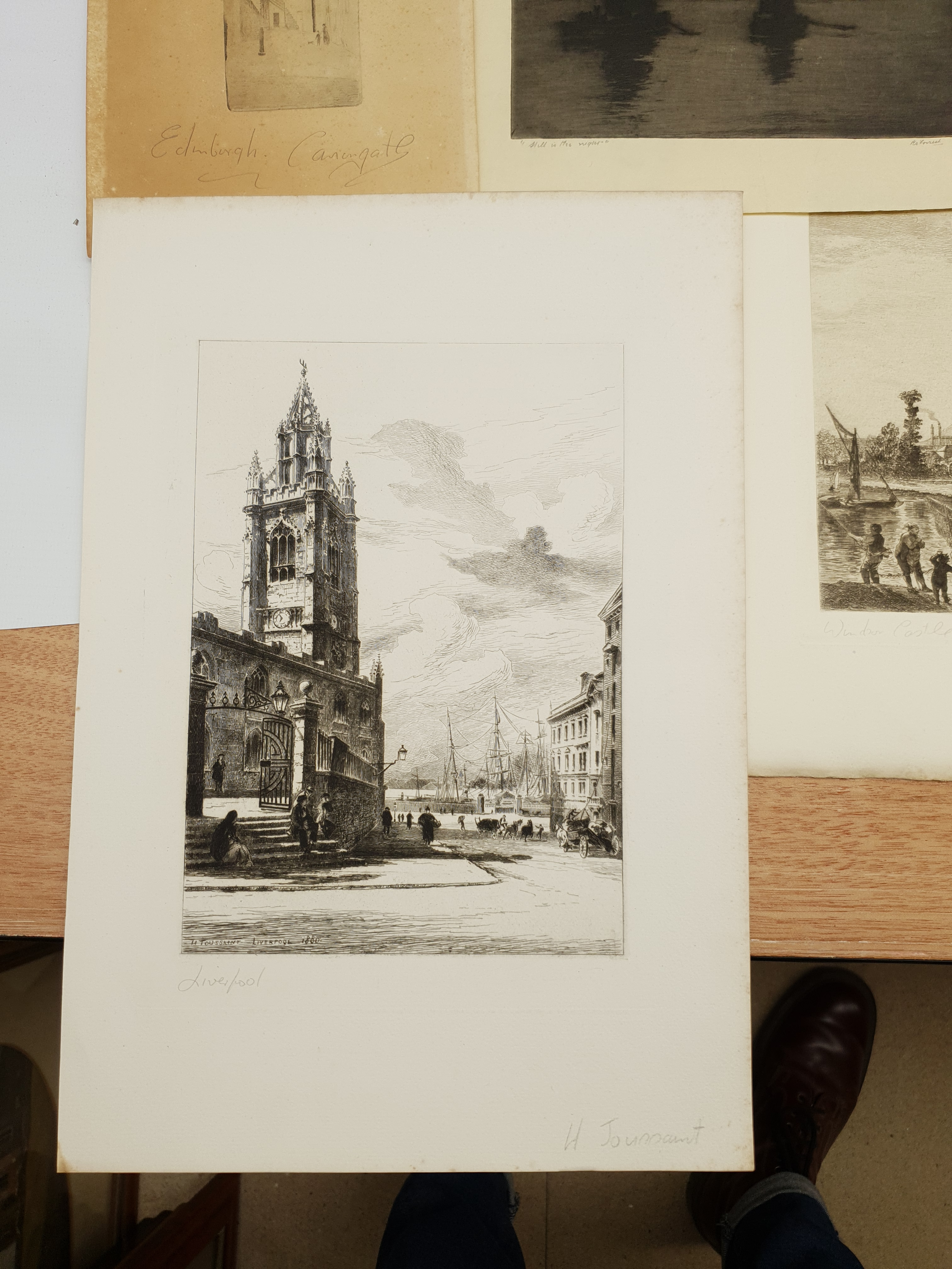 Collection of 19th/early 20th century etchings and engravings including 'Edinburgh Castlegate', 'St - Image 2 of 5