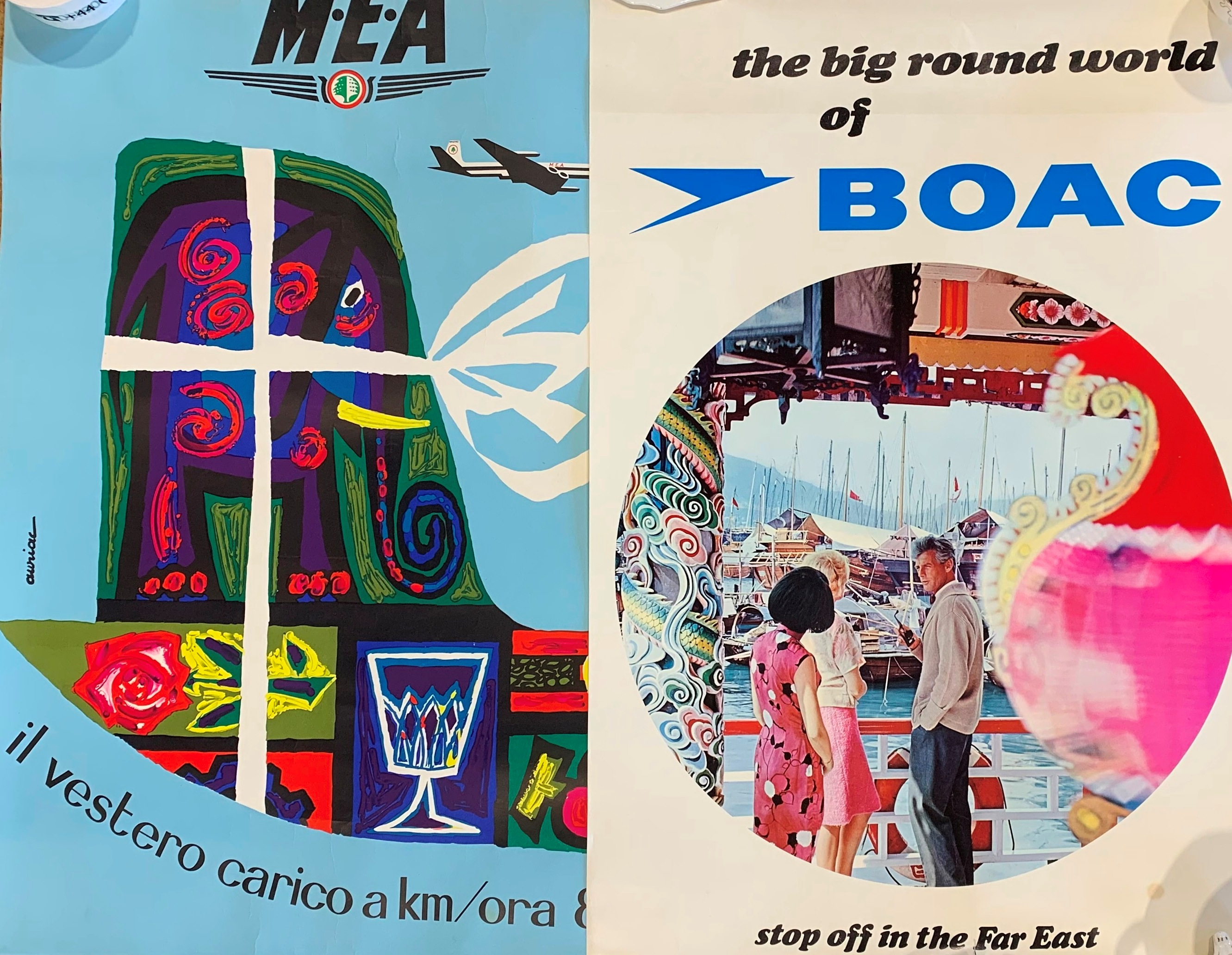 Collection of Vintage Airline Advertising Posters (1960s - 1970s) Max 102cm x 69cm (6) - Image 2 of 2