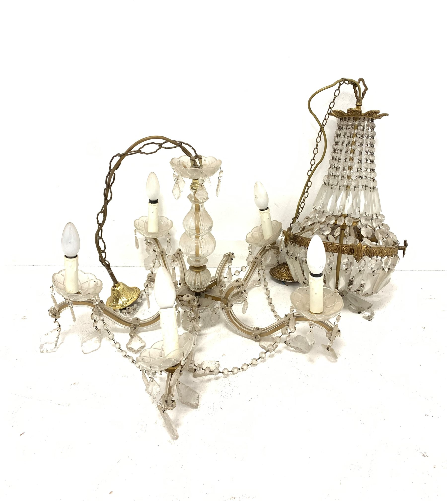 Venetian style glass five branch electrolier hung with lustre drops H43cm and a gilt metal ceiling l