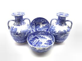 Pair of Copeland Spode's Italian pattern blue and white two handled baluster vases H27cm and a pair