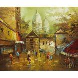 French School (20th century): Parisian Street Scene, oil on canvas signed Sedward 50cm x 60cm