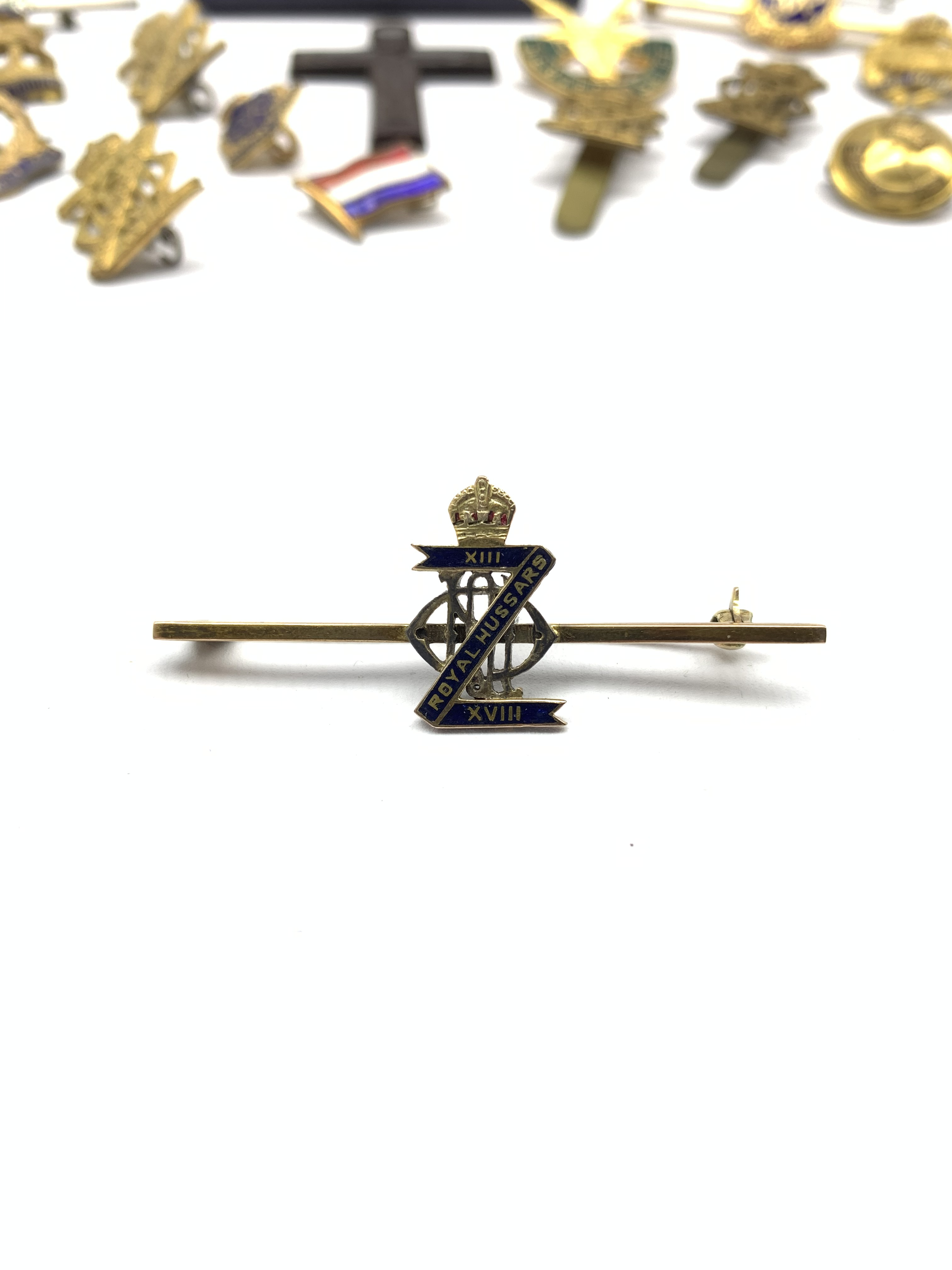 9ct gold and blue enamel brooch for XIII-XVIII Royal Hussars , four other Hussars brooches and clips - Image 9 of 15