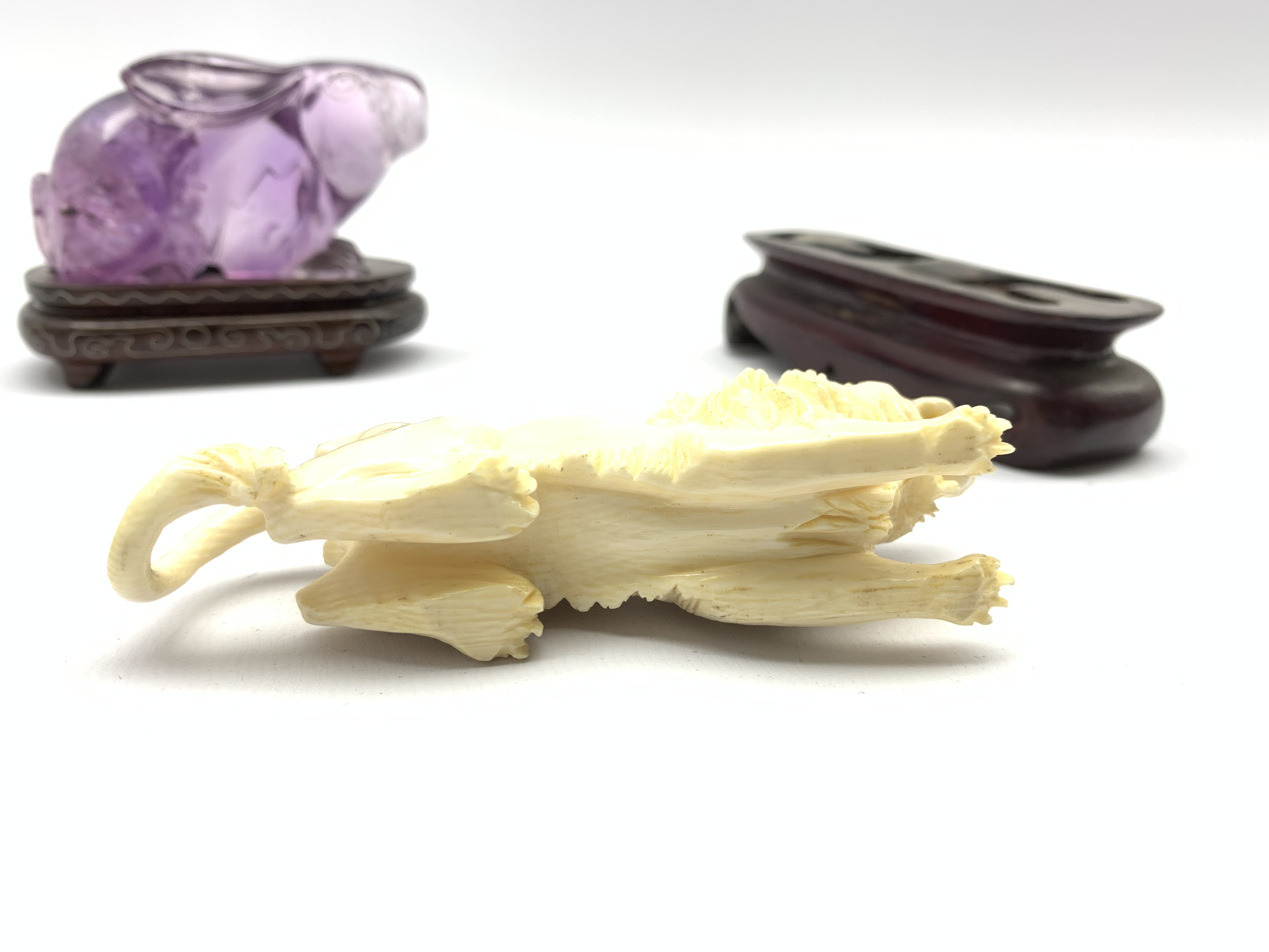 Oriental amethyst glass rabbit on a wooden stand W9cm and an early 20th century carved ivory figure - Image 10 of 11
