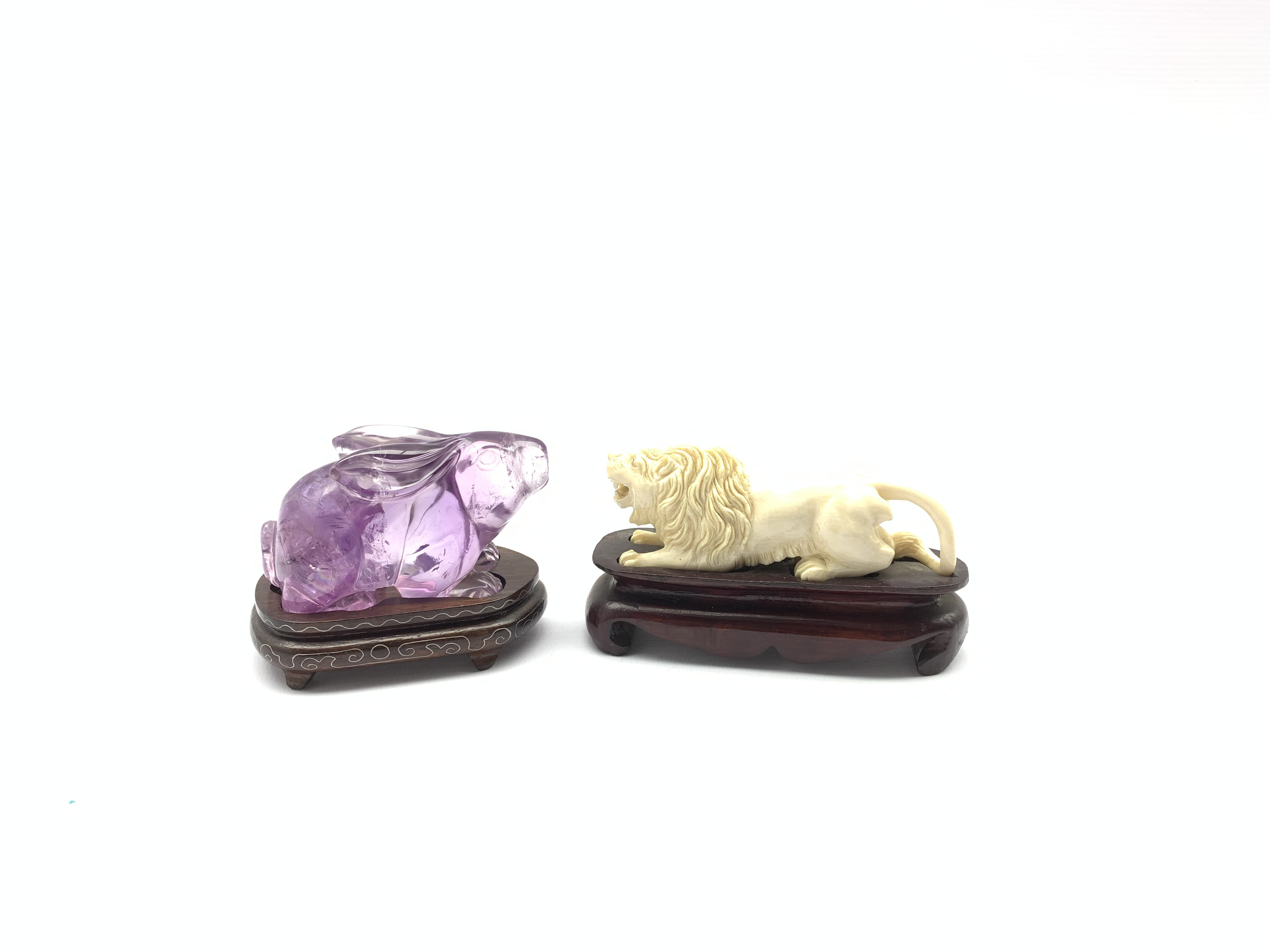Oriental amethyst glass rabbit on a wooden stand W9cm and an early 20th century carved ivory figure - Image 8 of 11
