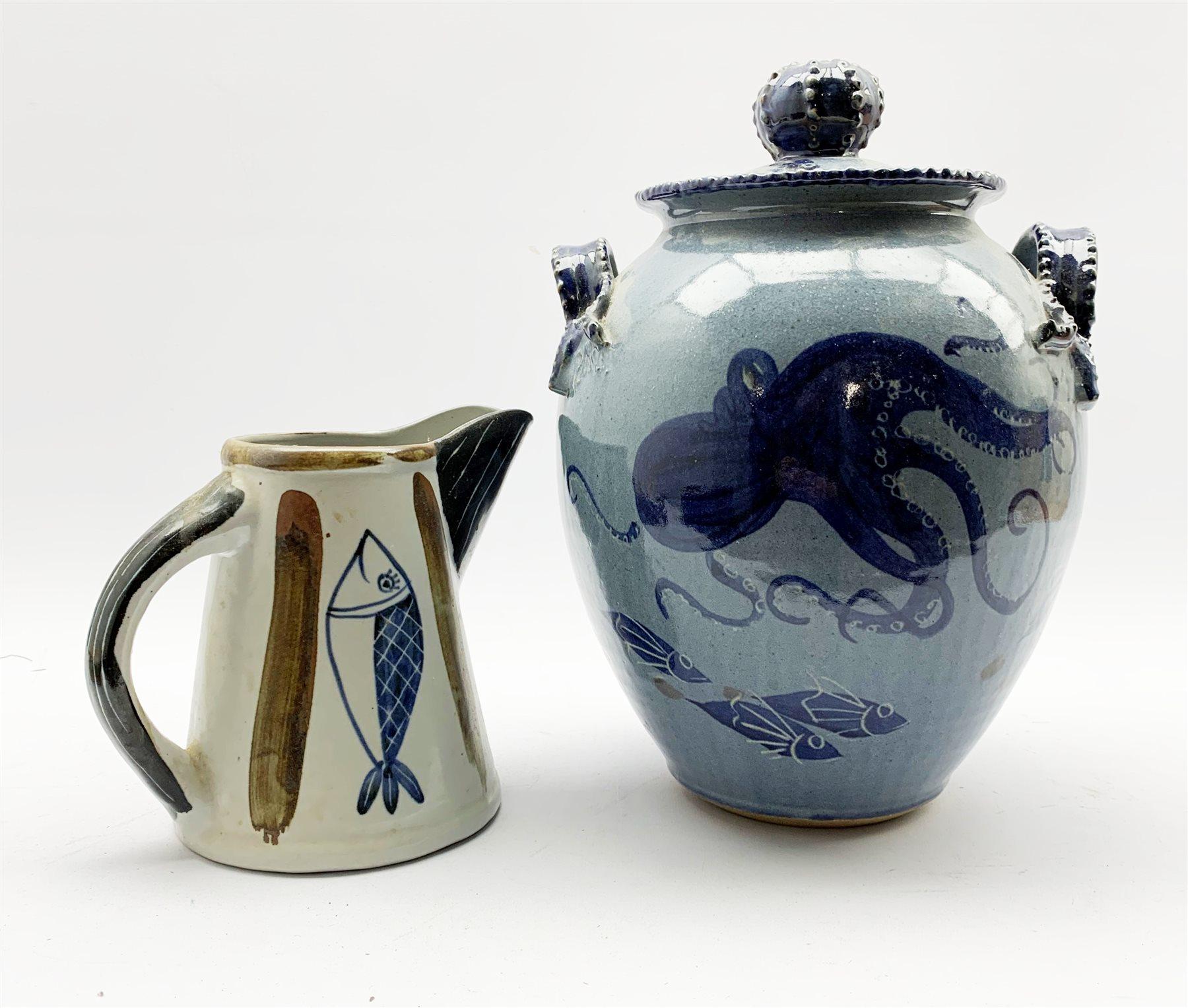 Studio pottery lidded vase in the style of Kevin Walker
