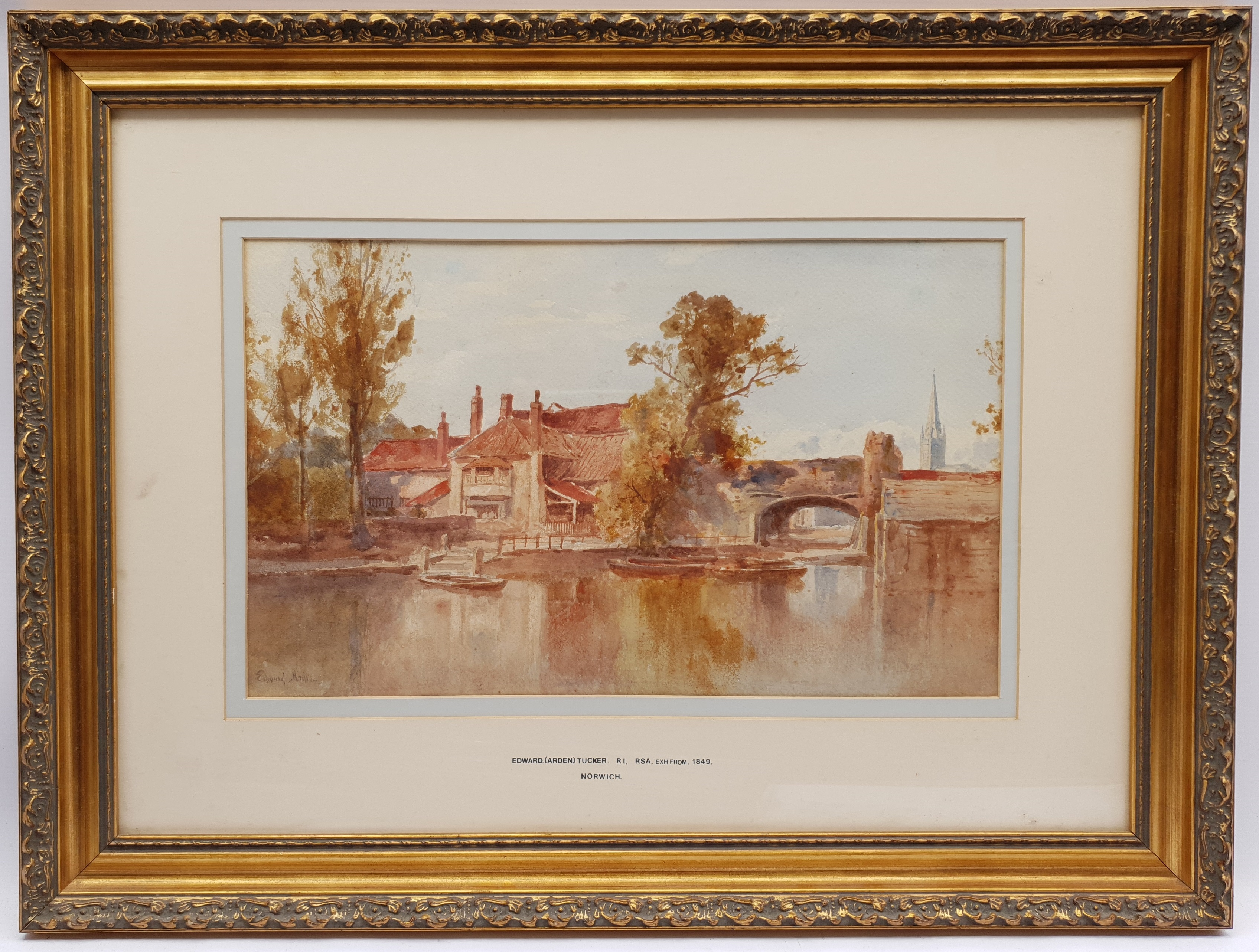 Edward Arden Tucker (British 1847-1910): 'Norwich', watercolour signed 26cm x 42cm; together with a - Image 2 of 4