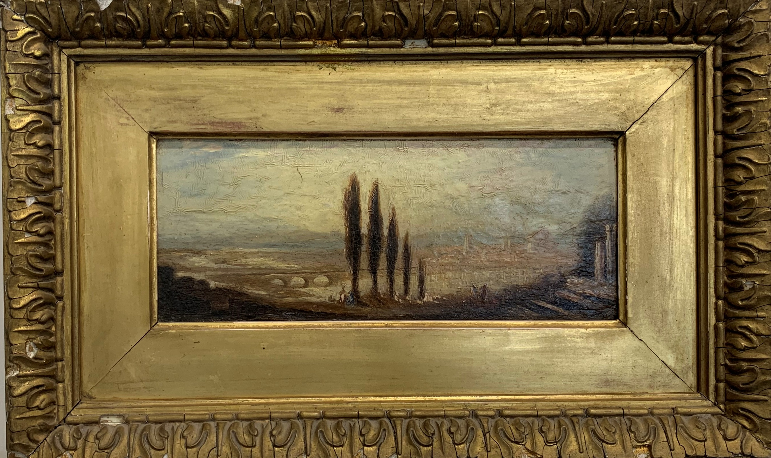 Italian School (19th century): Italianate Landscape, oil on panel unsigned 12cm x 30cm - Image 2 of 2
