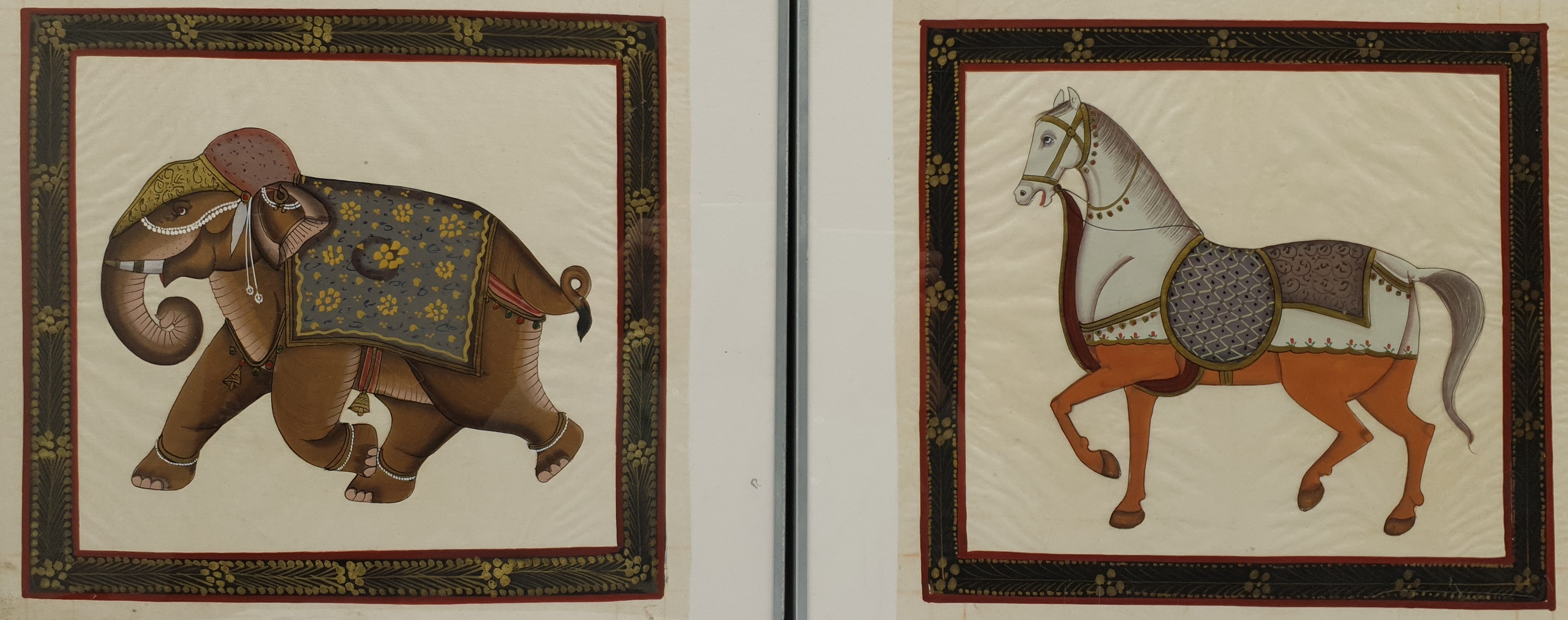 Mughal School (20th century): Horse and Elephant, pair paintings on fabric unsigned 36cm x 39cm (2)