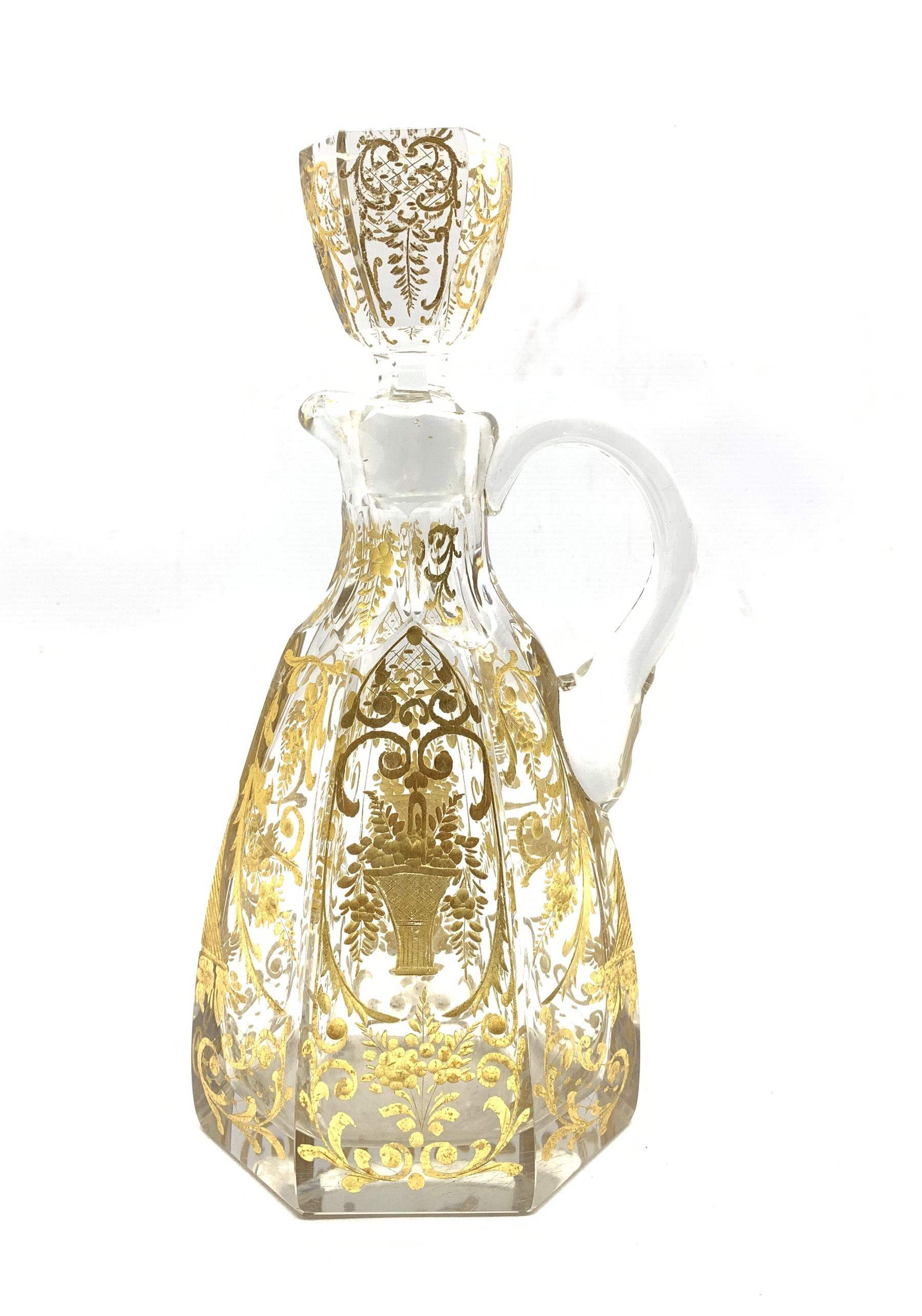 Early 20th century French glass claret jug of hexagonal design incised and gilded with trailing foli - Image 2 of 7