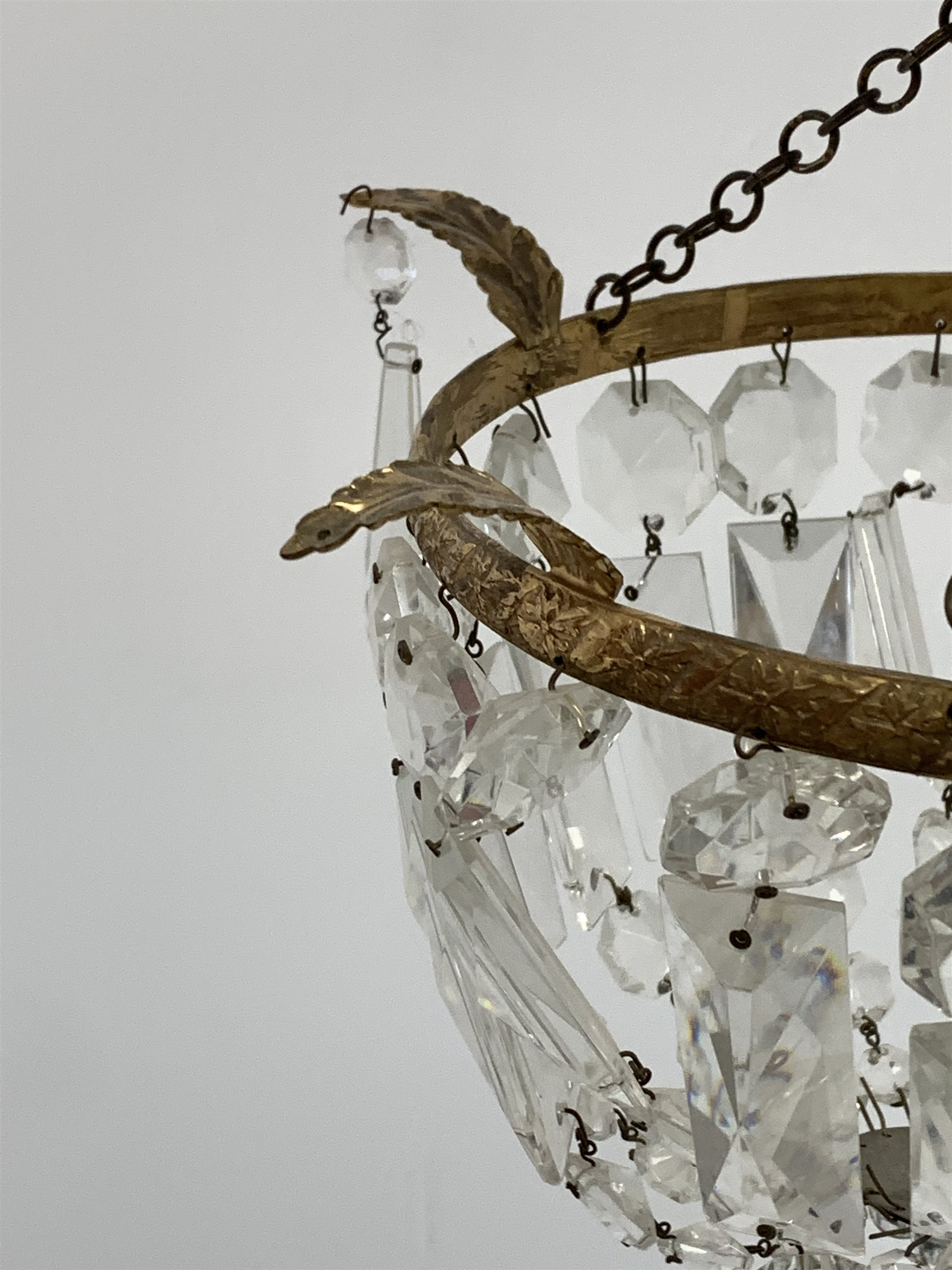 Gilt metal circlet light fitting hung with lustre drops, four various wall lights, reproduction Whit - Image 3 of 5