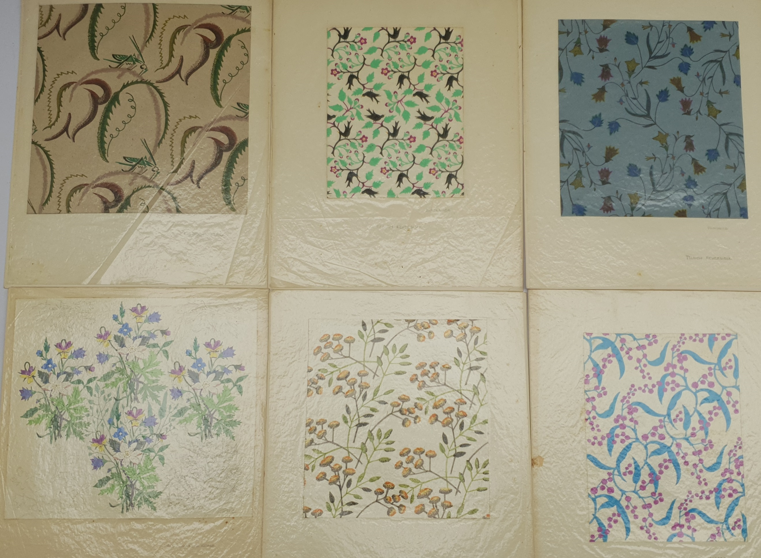 EM Ball (British mid 20th century): Six original fabric/wallpaper designs: 'Grasshoppers', 'Blackbir
