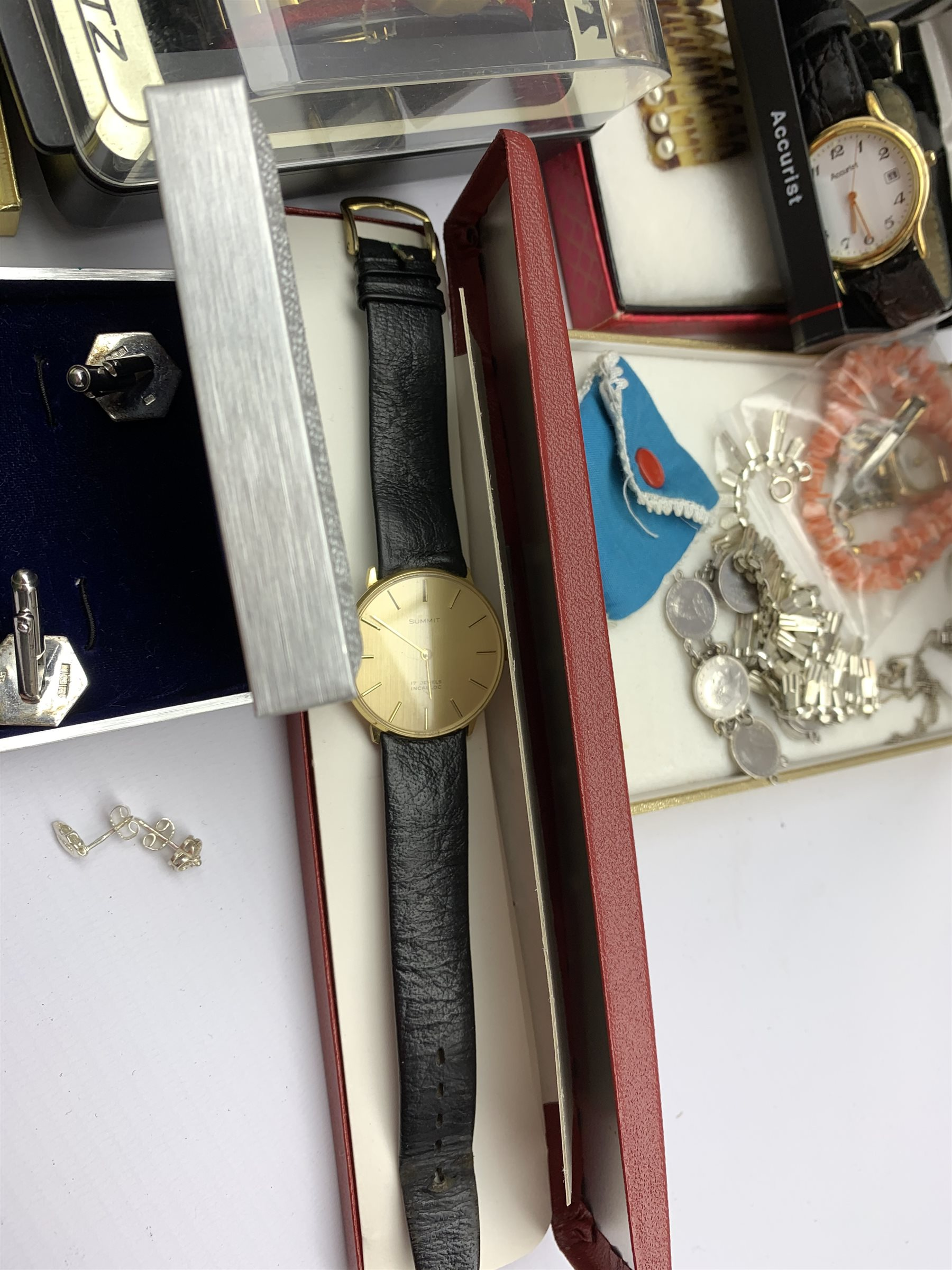 Silver necklaces and a pair of cuff links all stamped or hallmarked, 9ct gold ladies wristwatch on g - Image 4 of 9