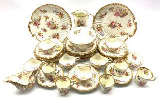 Hammersley 'Dresden Sprays' pattern tea set of moulded shell design comprising seven cups, nine sauc