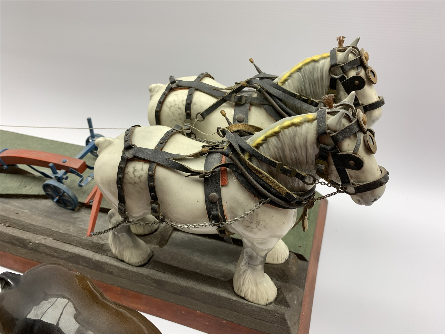 Pair of Beswick grey harnessed shire horses No.818 pulling a single furrow plough and on a wooden ba - Image 2 of 5