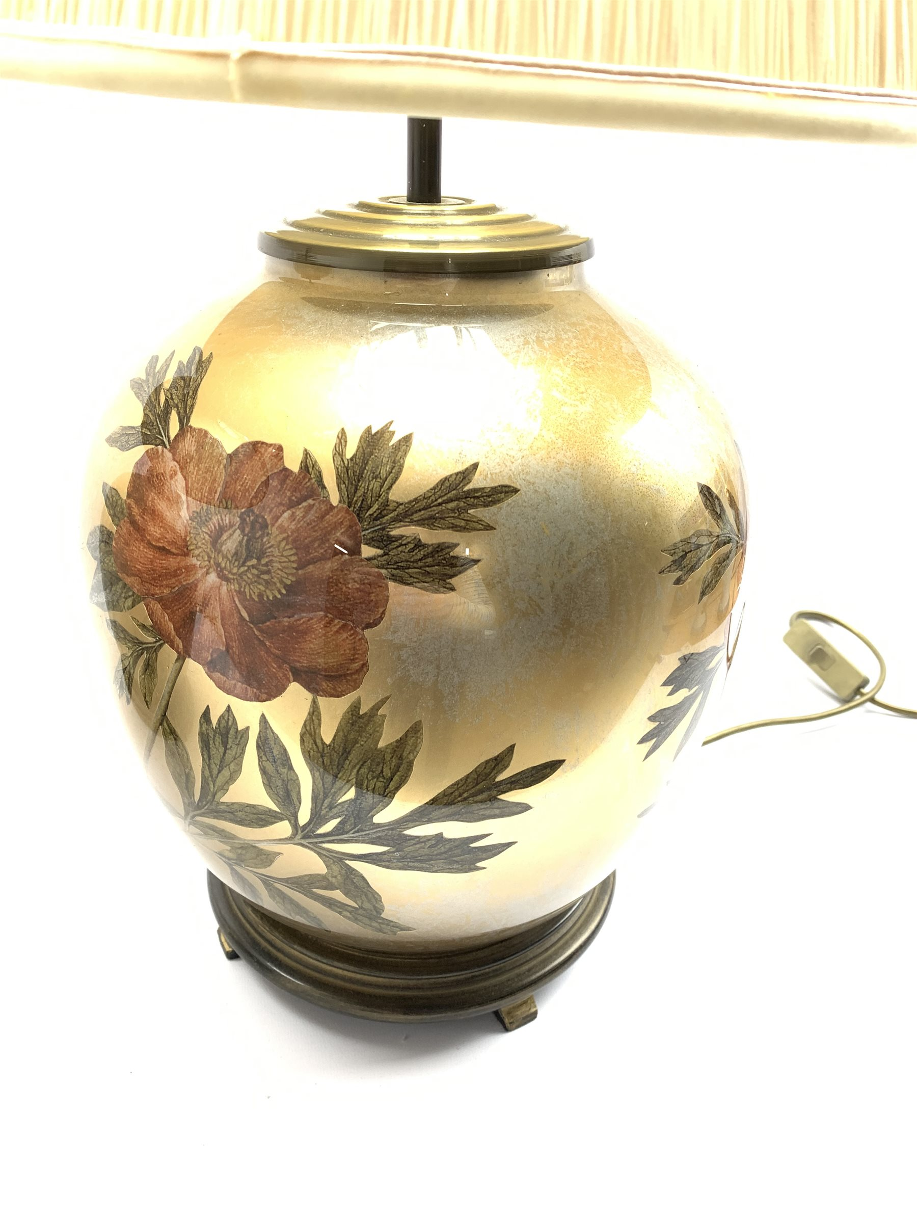 A near pair of glass table lamps having floral decoration on lustre ground, with pleated shades, H66 - Image 3 of 5