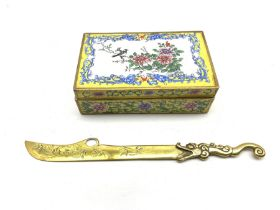 19th century Canton rectangular enamel box, the hinged cover painted with birds perched on a branch
