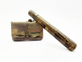 19th century Japanese embroidered tobacco pouch (tabako-ire) with bronze mae-kanagu in the form of f