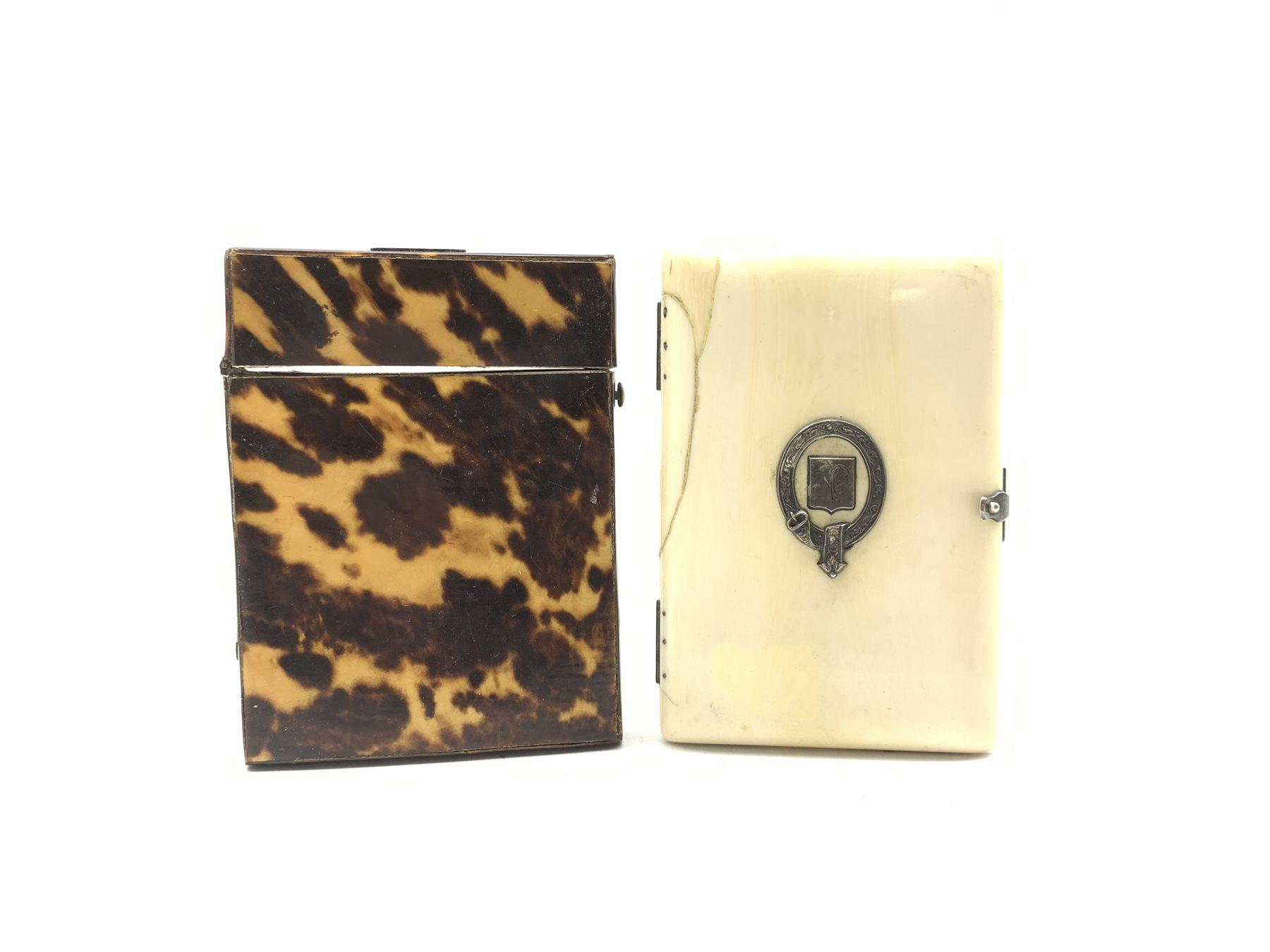 Victorian ivory rectangular card case