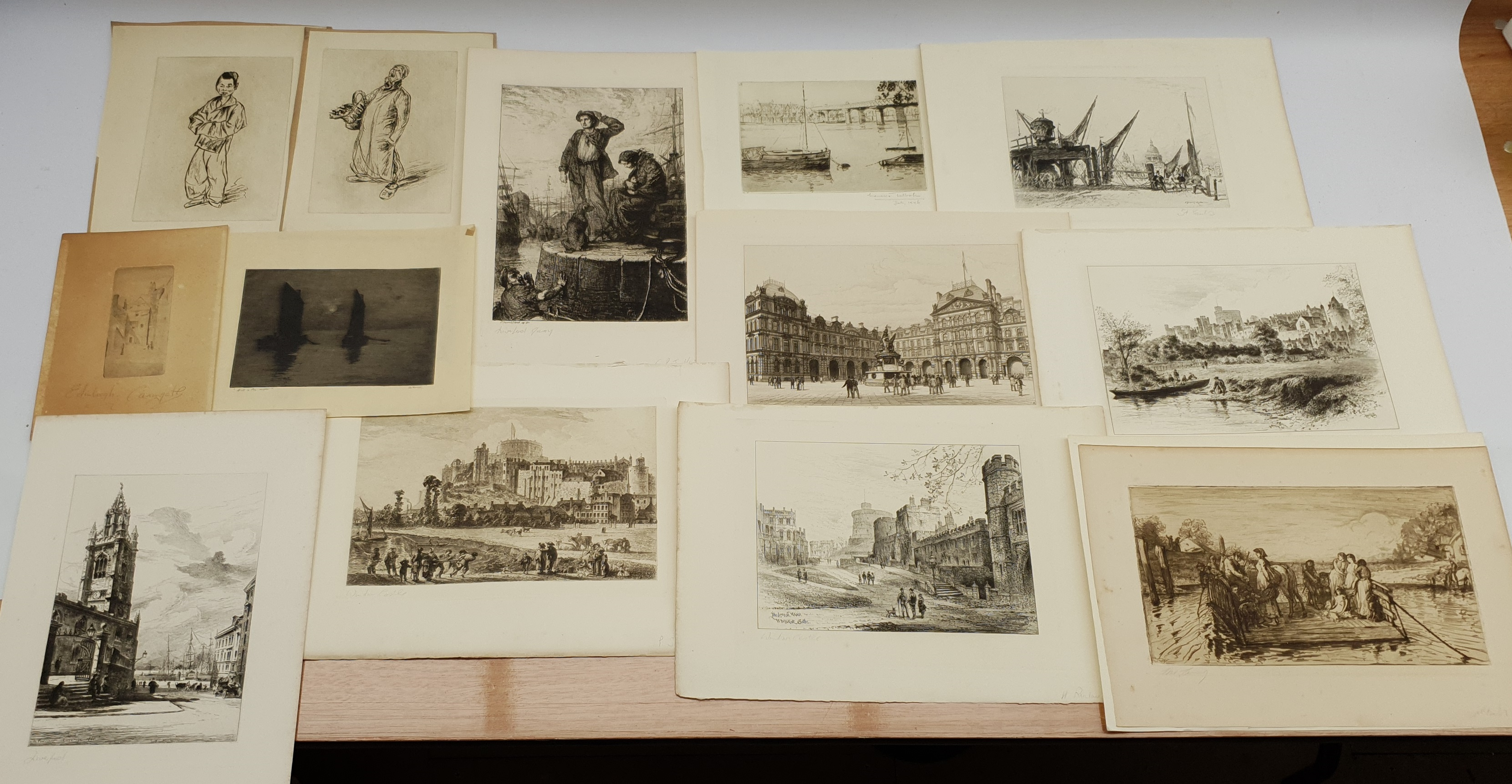 Collection of 19th/early 20th century etchings and engravings including 'Edinburgh Castlegate', 'St