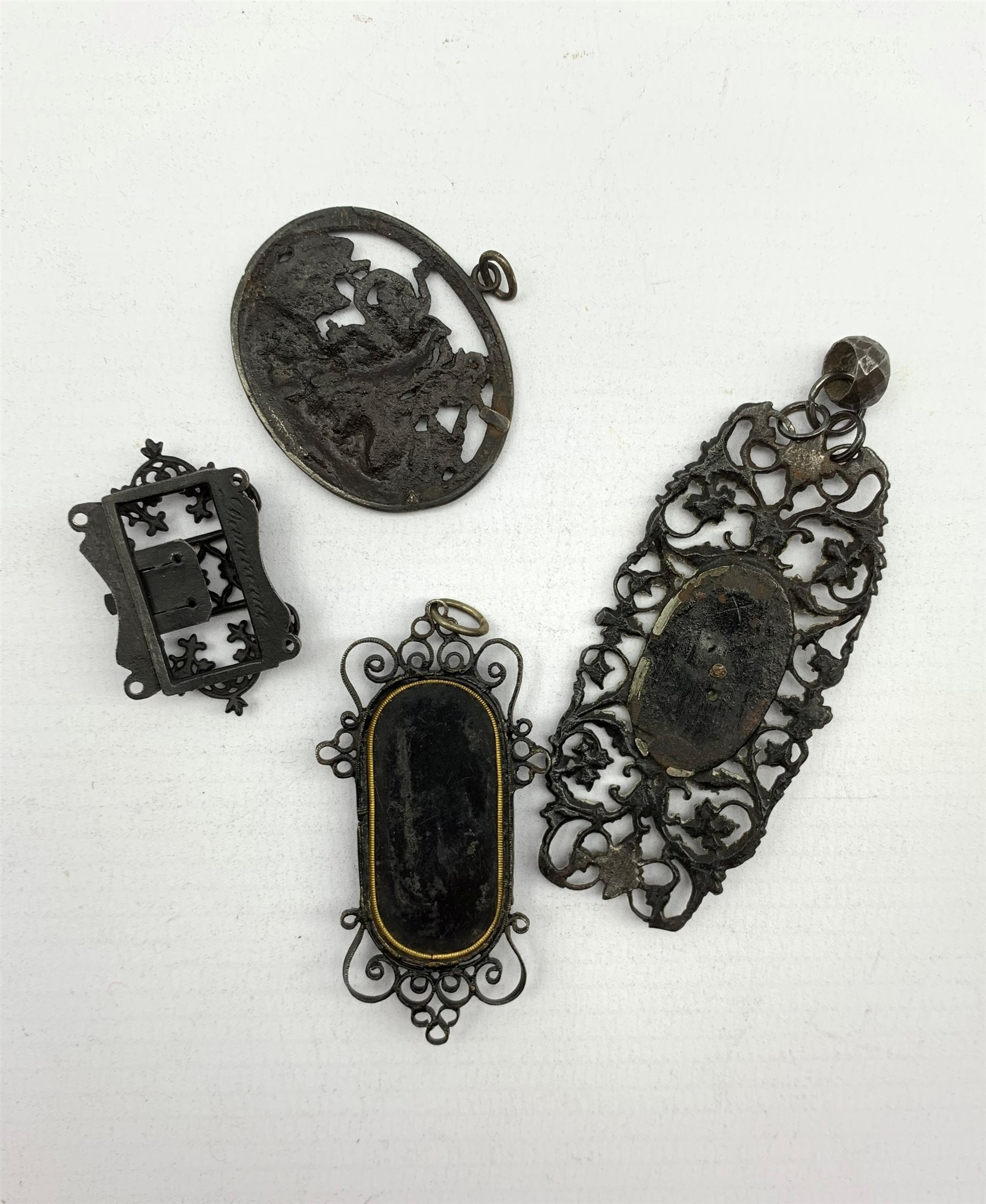 Simeon Pierre Devaranne (1789-1859) Berlin ironwork clasp inscribed 'Devaranne' and three other piec - Image 2 of 3