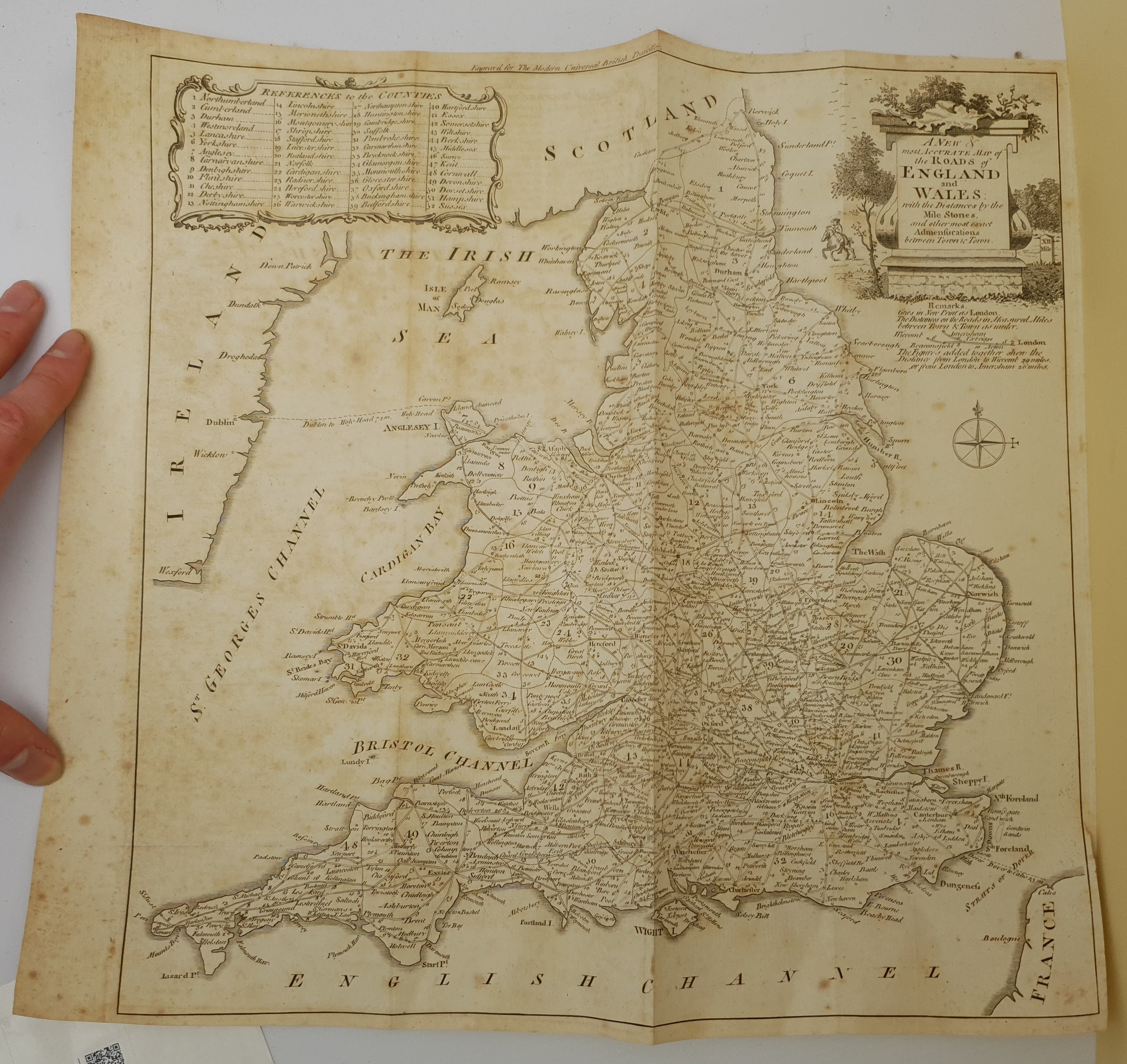After Thomas Kitchin (British 1719-1784): 'A New and Most Accurate Map of the Roads of England and W - Image 2 of 3