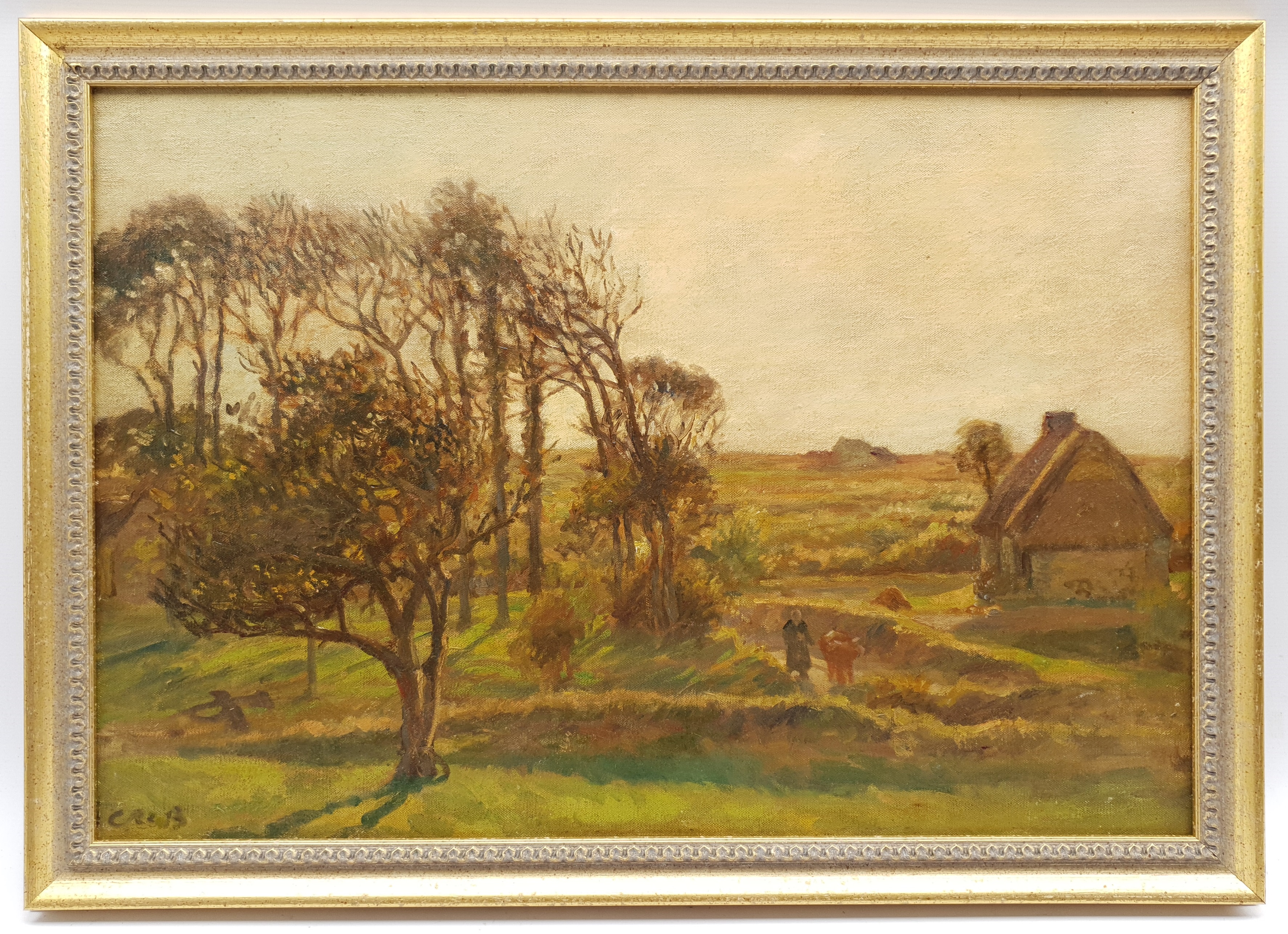 Continental School (Early 20th century): Figures by a Farmstead, oil on canvas indistinctly signed 5 - Image 2 of 4