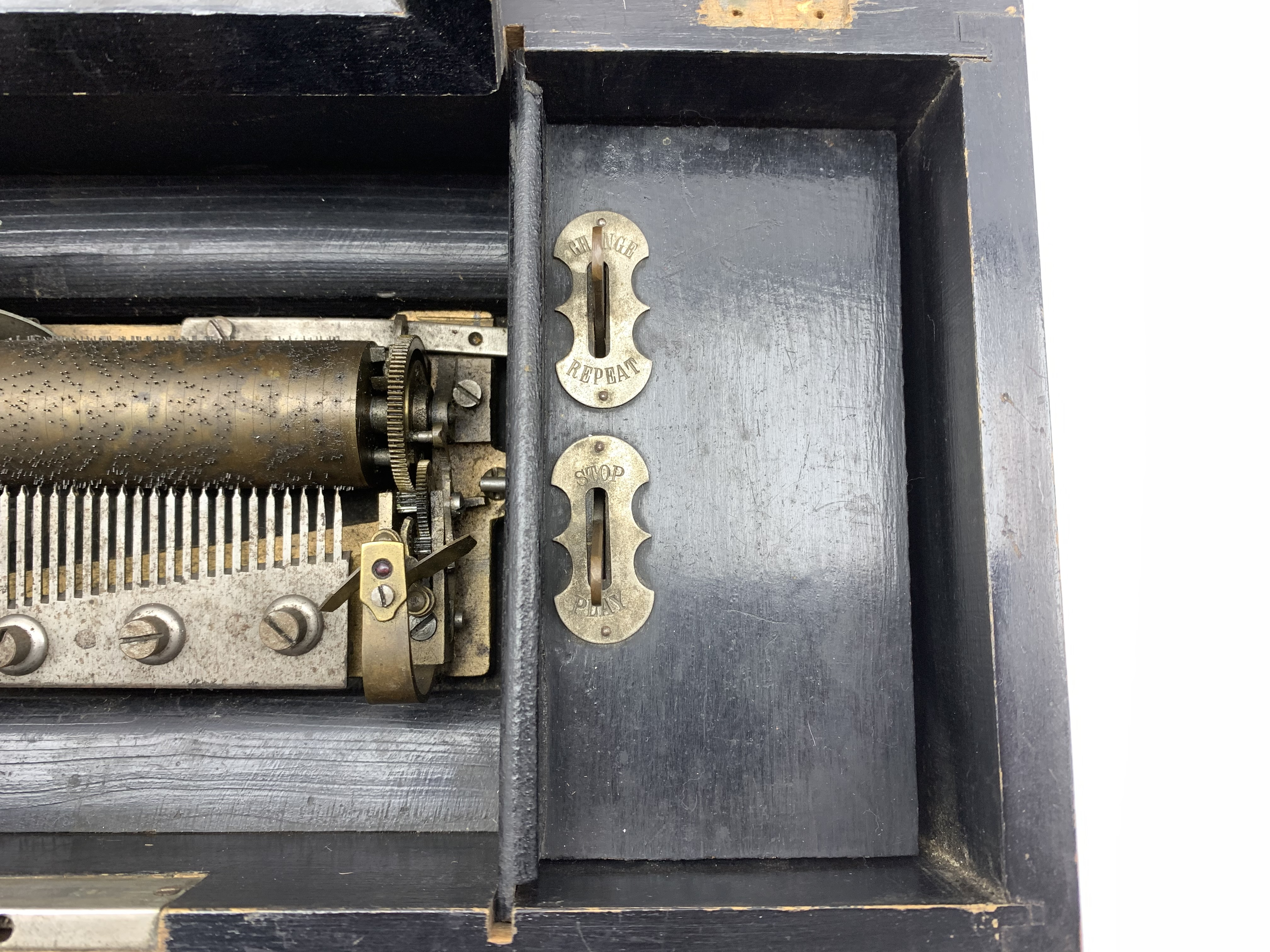 Late 19th Century Swiss eight air musical box with comb and cylinder movement, cylinder 10cm long in - Image 7 of 7