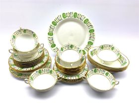 Hammersley 'Green Leaves' pattern dinner service comprising six two handled soup bowls and stands, s