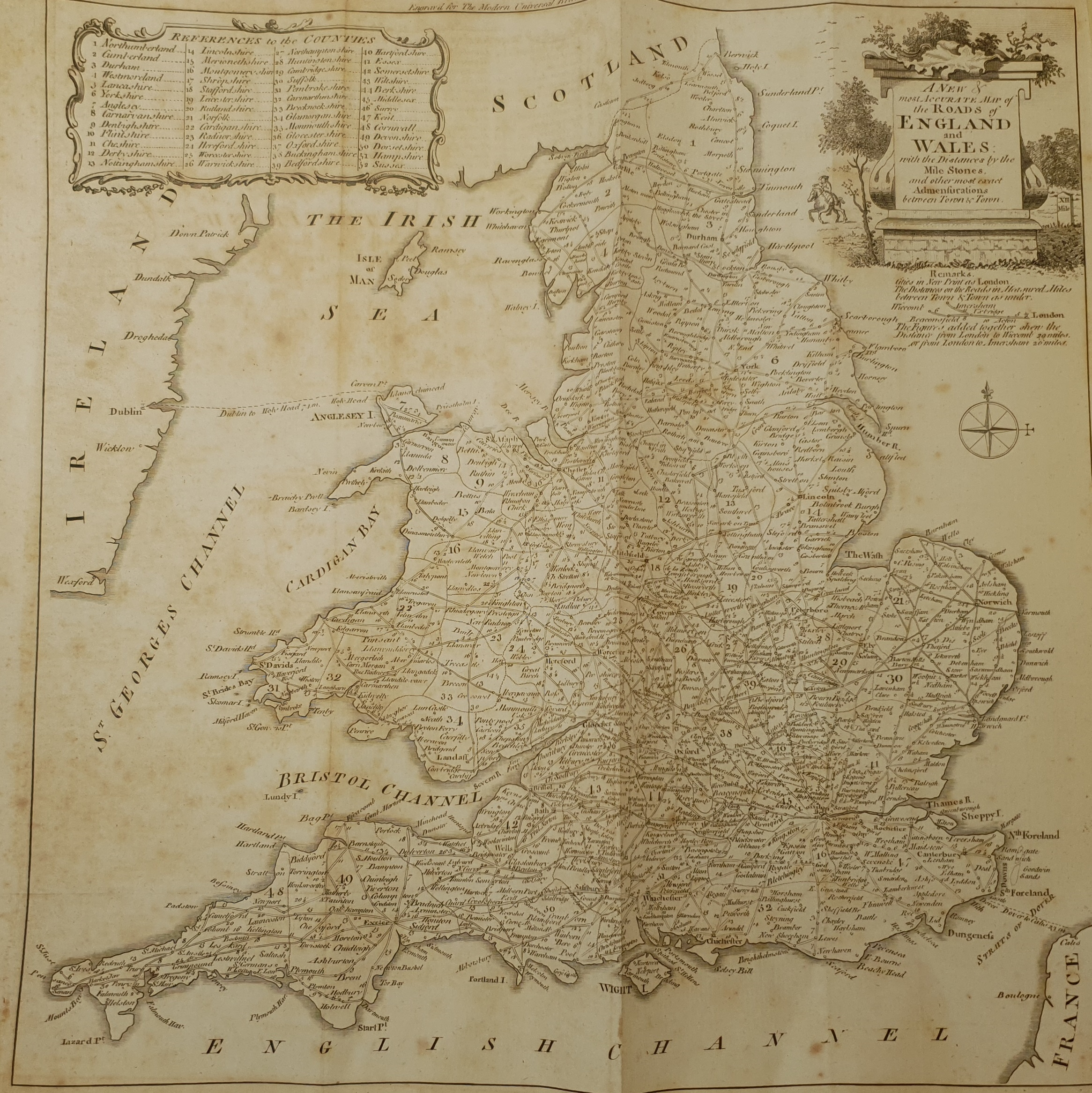 After Thomas Kitchin (British 1719-1784): 'A New and Most Accurate Map of the Roads of England and W