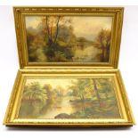 Effie Kathleen Walker (ne� Fletcher) (British 1910-2001): River Landscapes 'Hull', pair oils on canv