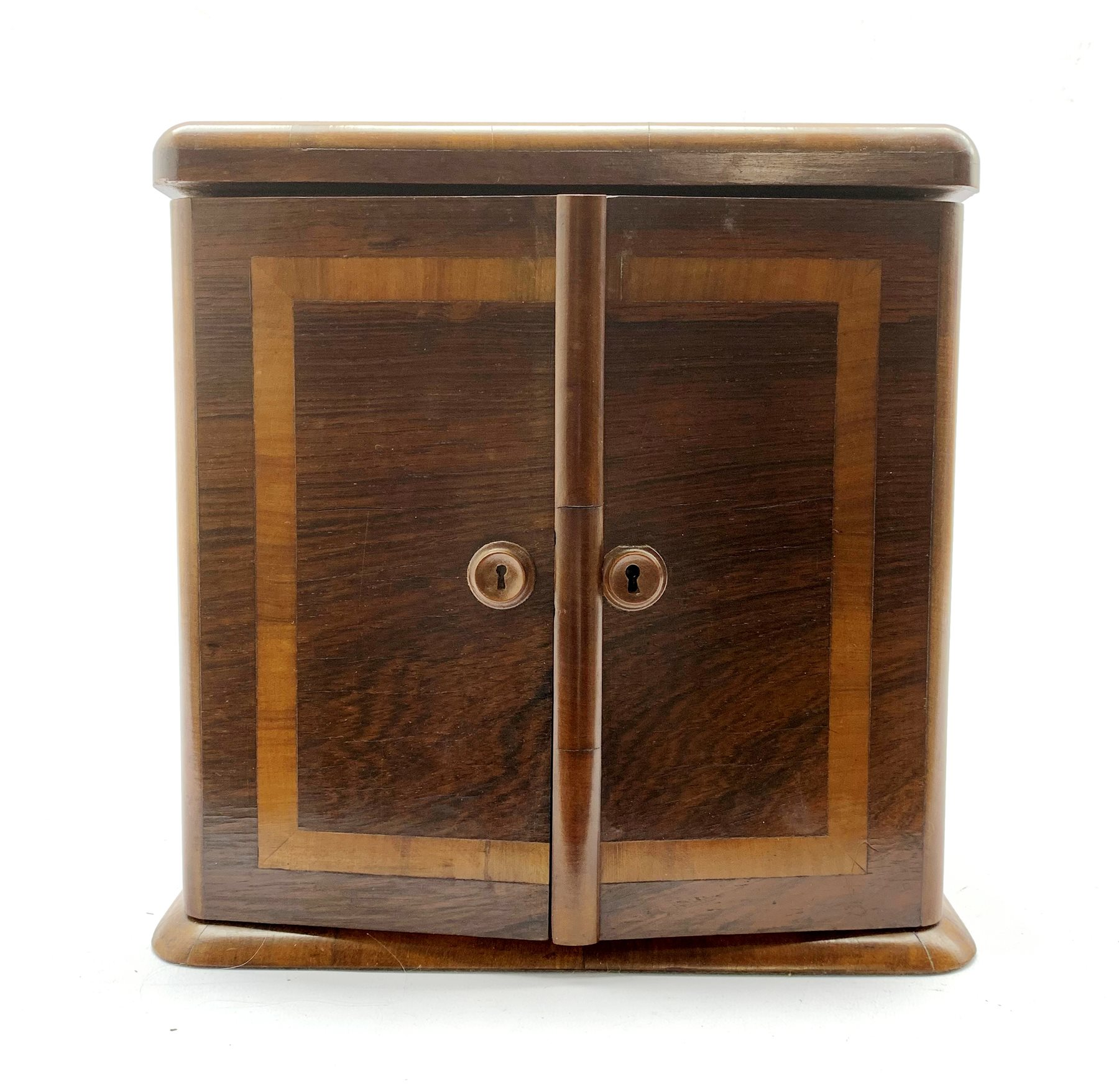 Late Victorian crossbanded rosewood table top cabinet fitted with three small drawers and enclosed