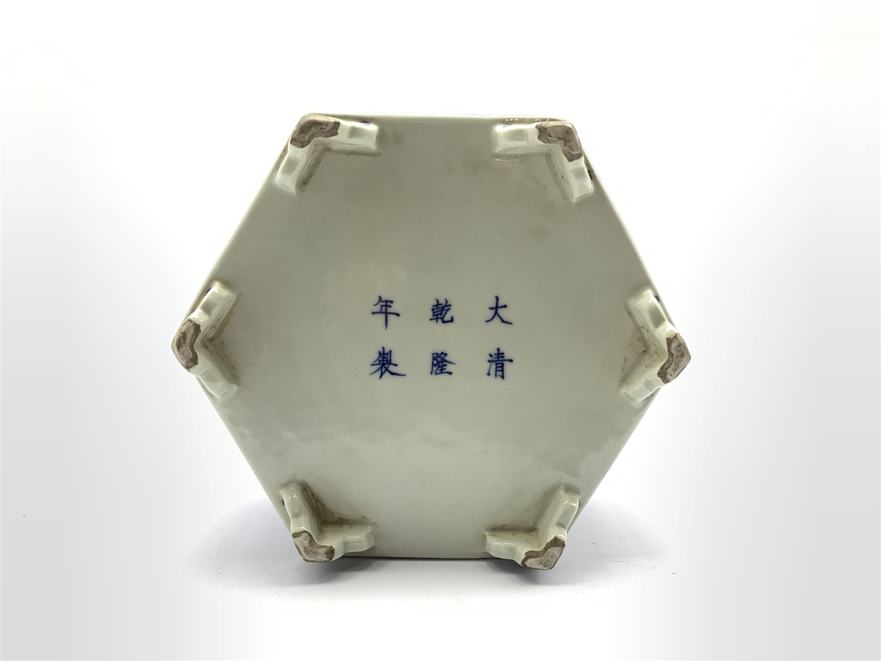 Chinese hexagonal ink stone decorated with Phoenix among scroll work in blue and white and with blue - Image 3 of 5
