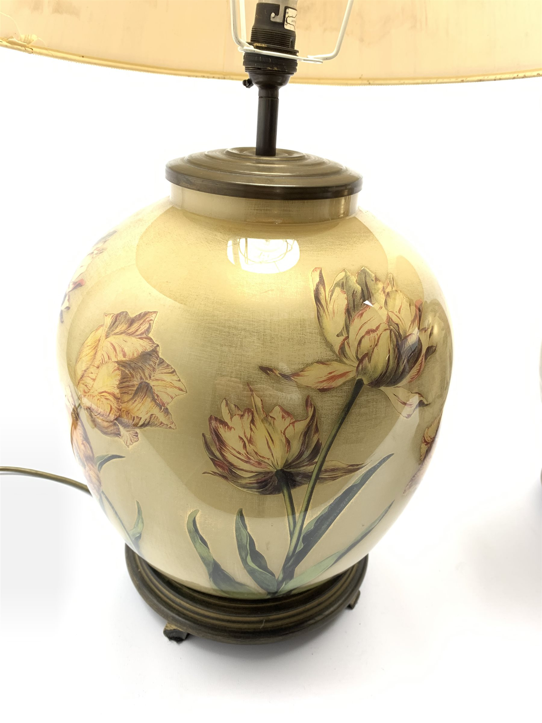 A near pair of glass table lamps having floral decoration on lustre ground, with pleated shades, H66 - Image 2 of 5
