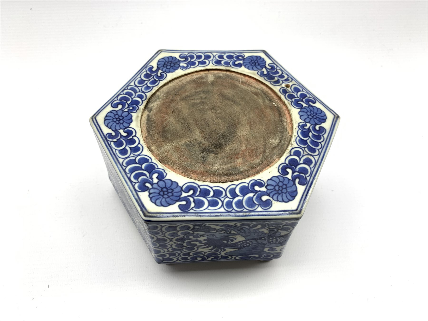 Chinese hexagonal ink stone decorated with Phoenix among scroll work in blue and white and with blue - Image 2 of 5