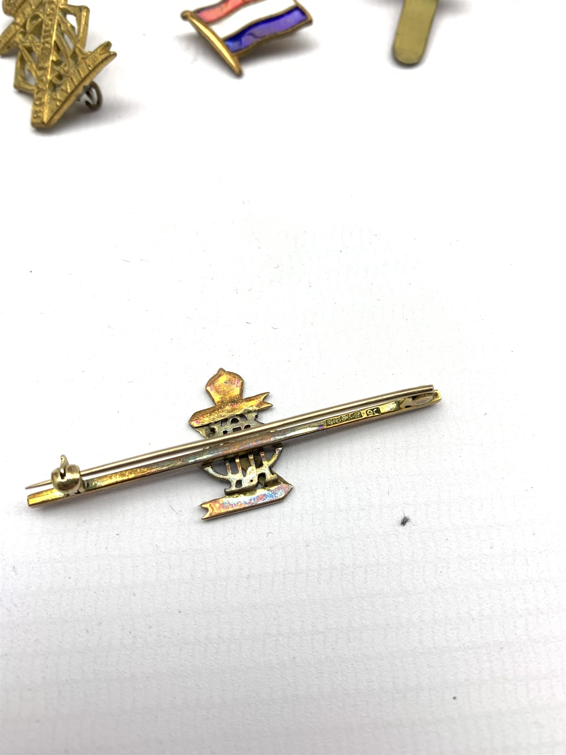 9ct gold and blue enamel brooch for XIII-XVIII Royal Hussars , four other Hussars brooches and clips - Image 3 of 15