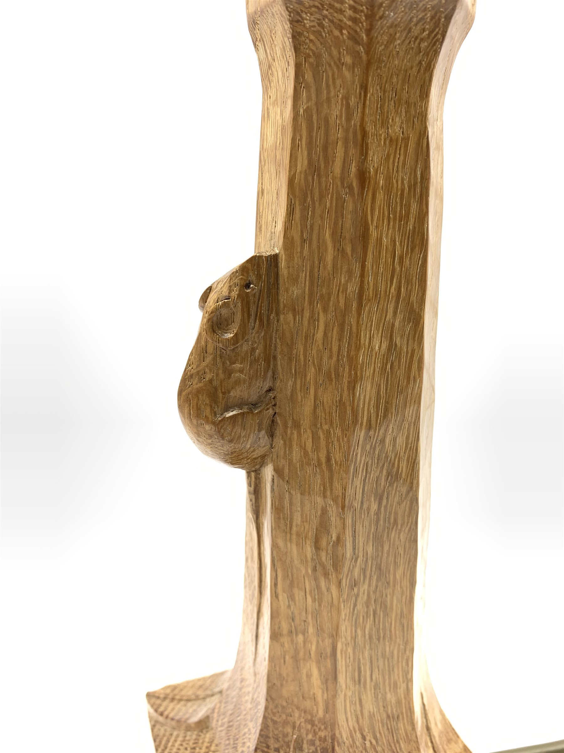 Thompson of Kilburn 'Mouseman' adzed oak table lamp with octagonal stem on a leaf carved square base - Image 3 of 5